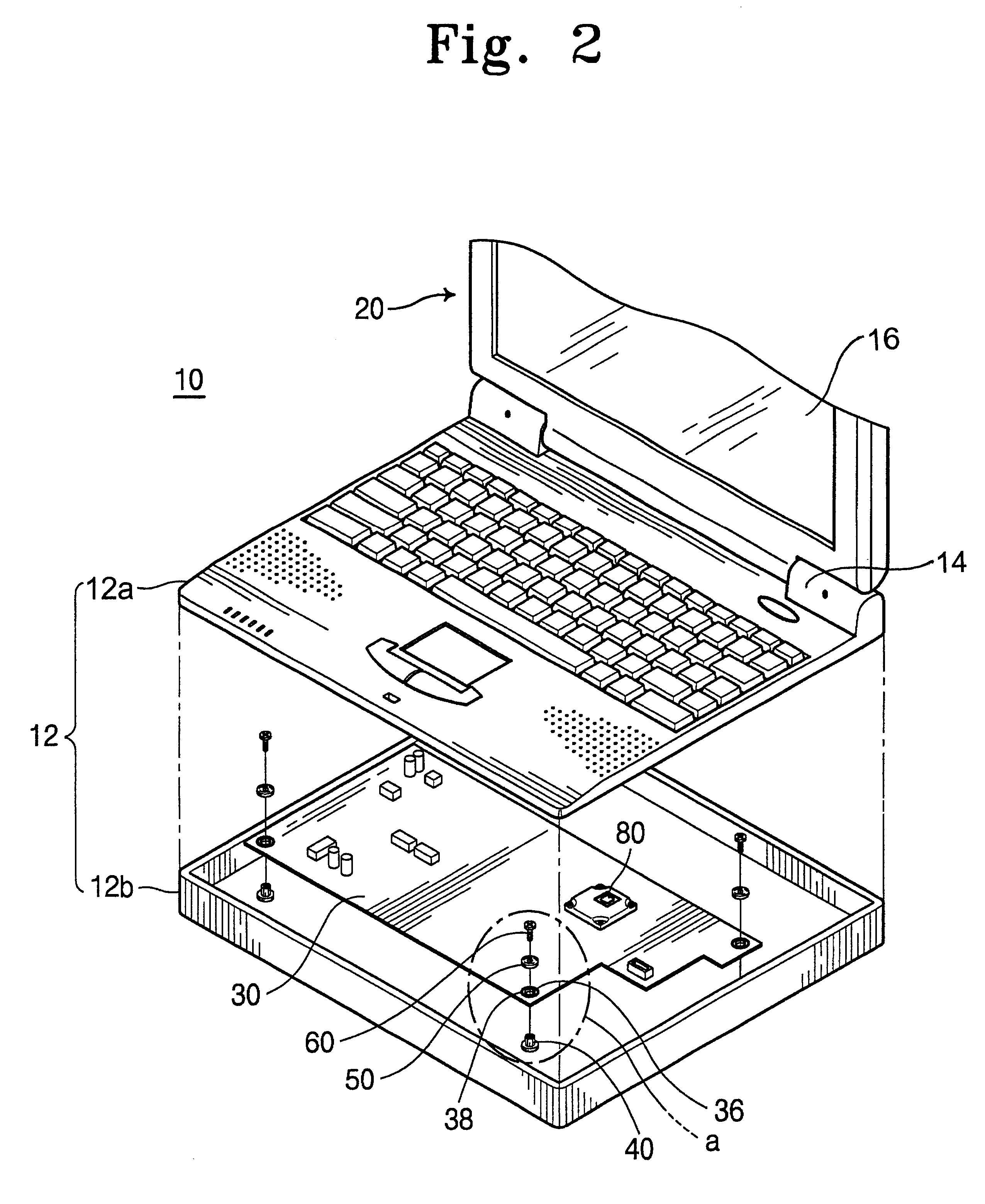 patent us6262887 - printed circuit board mounting assembly within a portable computer