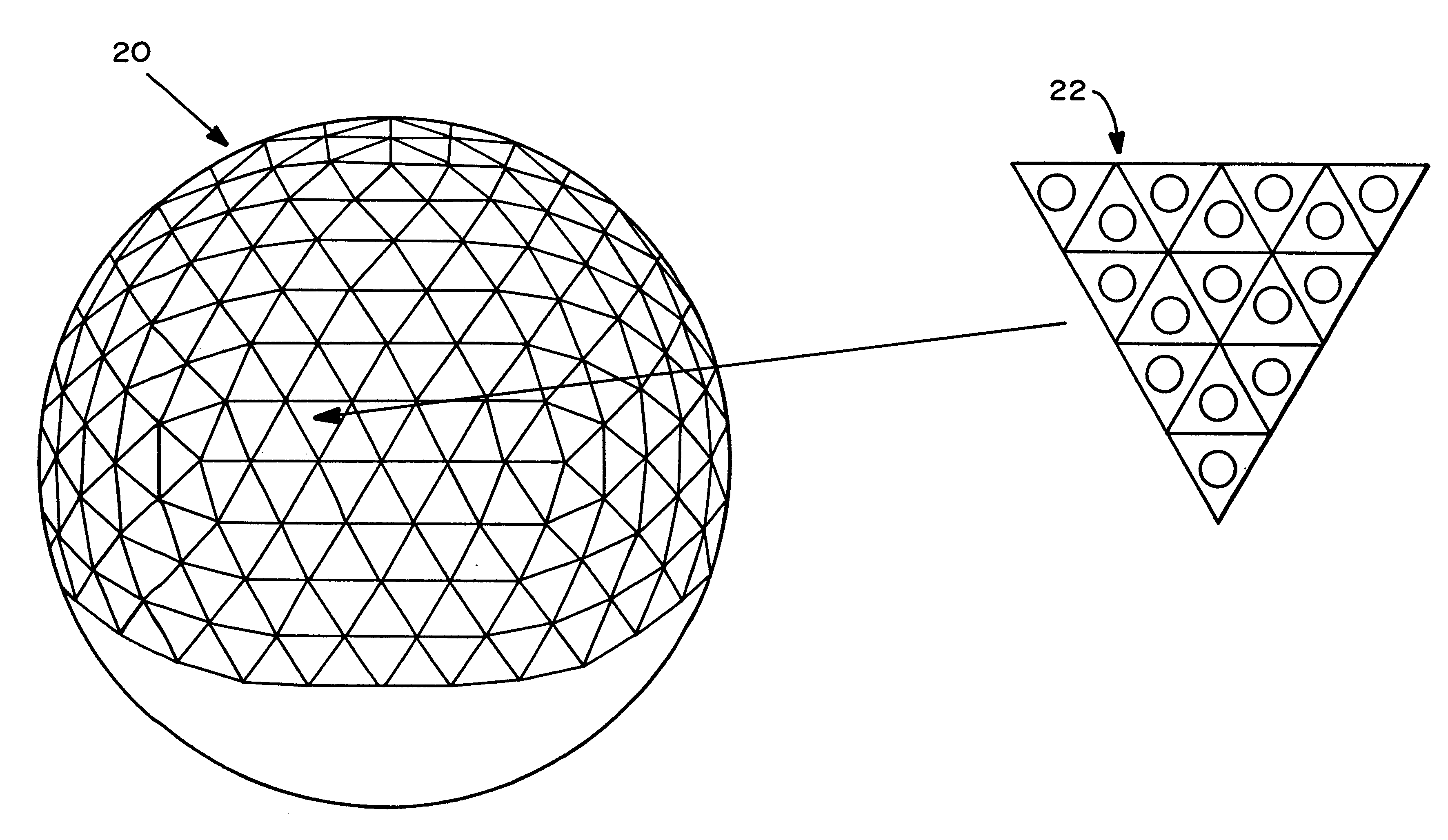Patent US6292134 - Geodesic sphere phased array antenna system