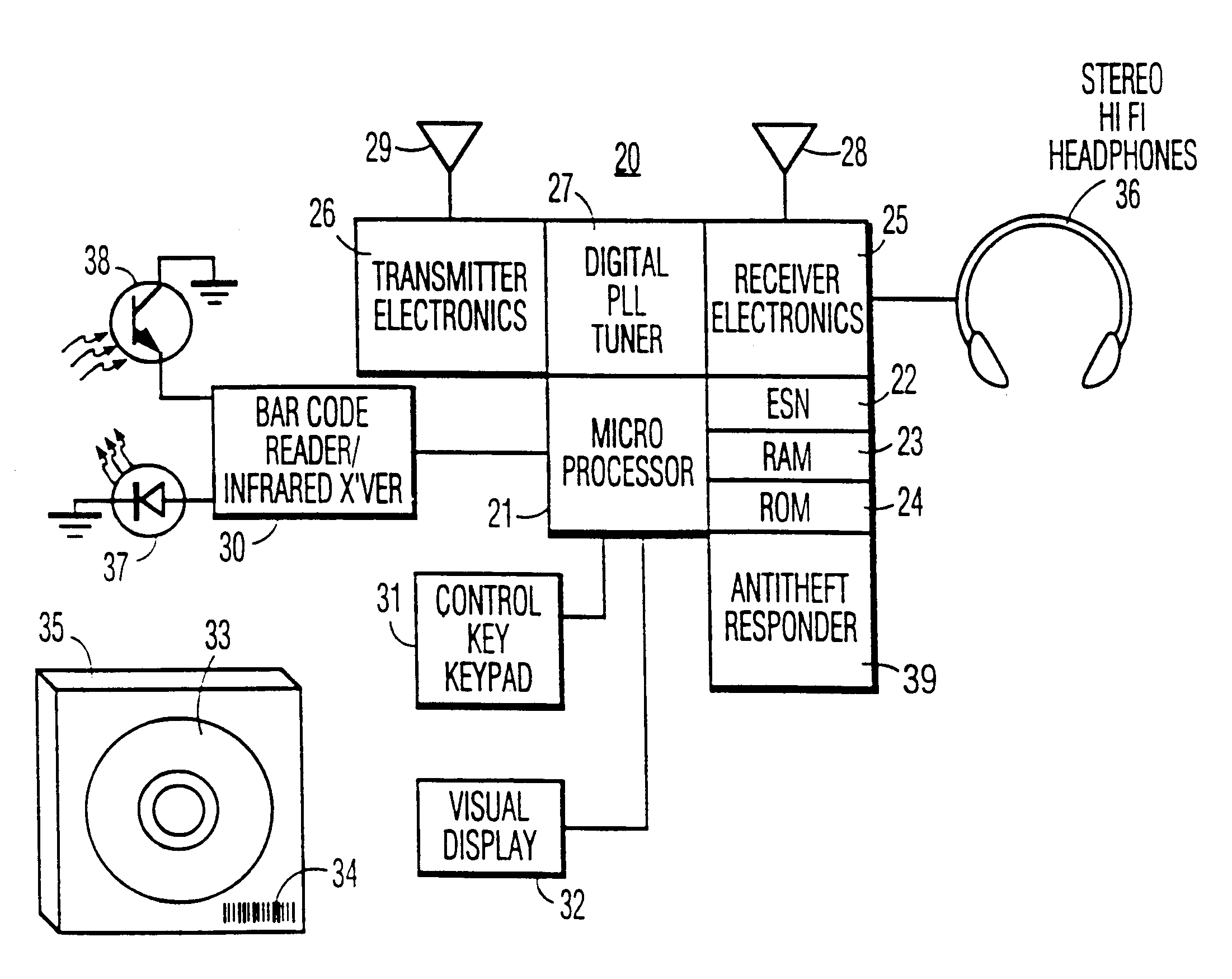 Patent Us6300880 Multichannel Audio Distribution System Having Saa1057 Pll Synthesized Fm Transmitter Drawing