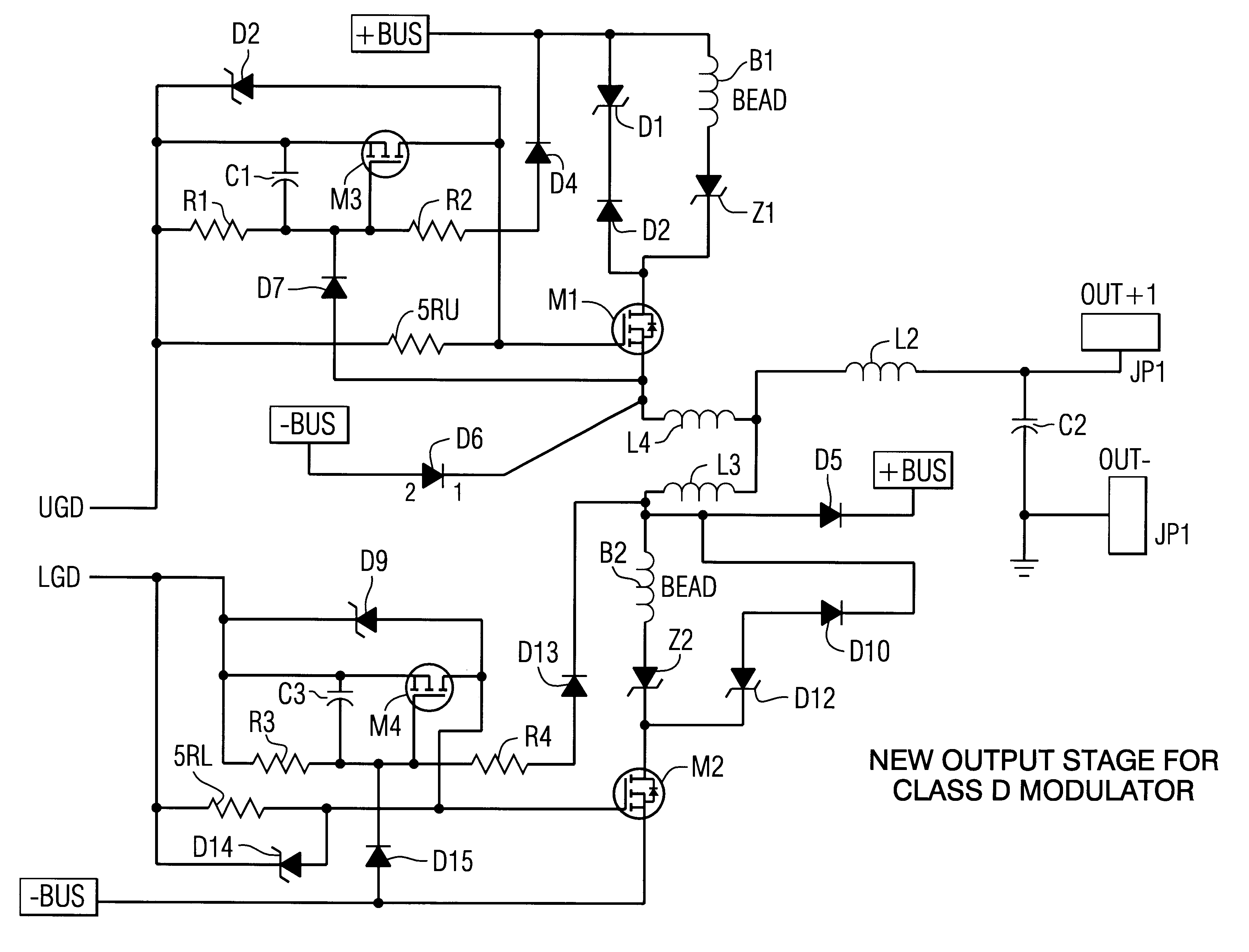 patent us6304137 - output stage for high power class d amplifiers