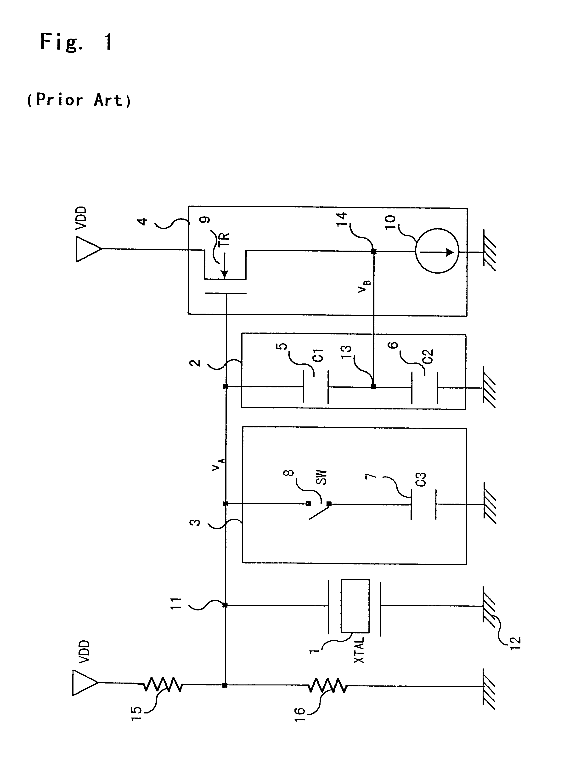 Patent Us6304152 Digital Control Colpitts Oscillator Circuit Element Crystal Drawing