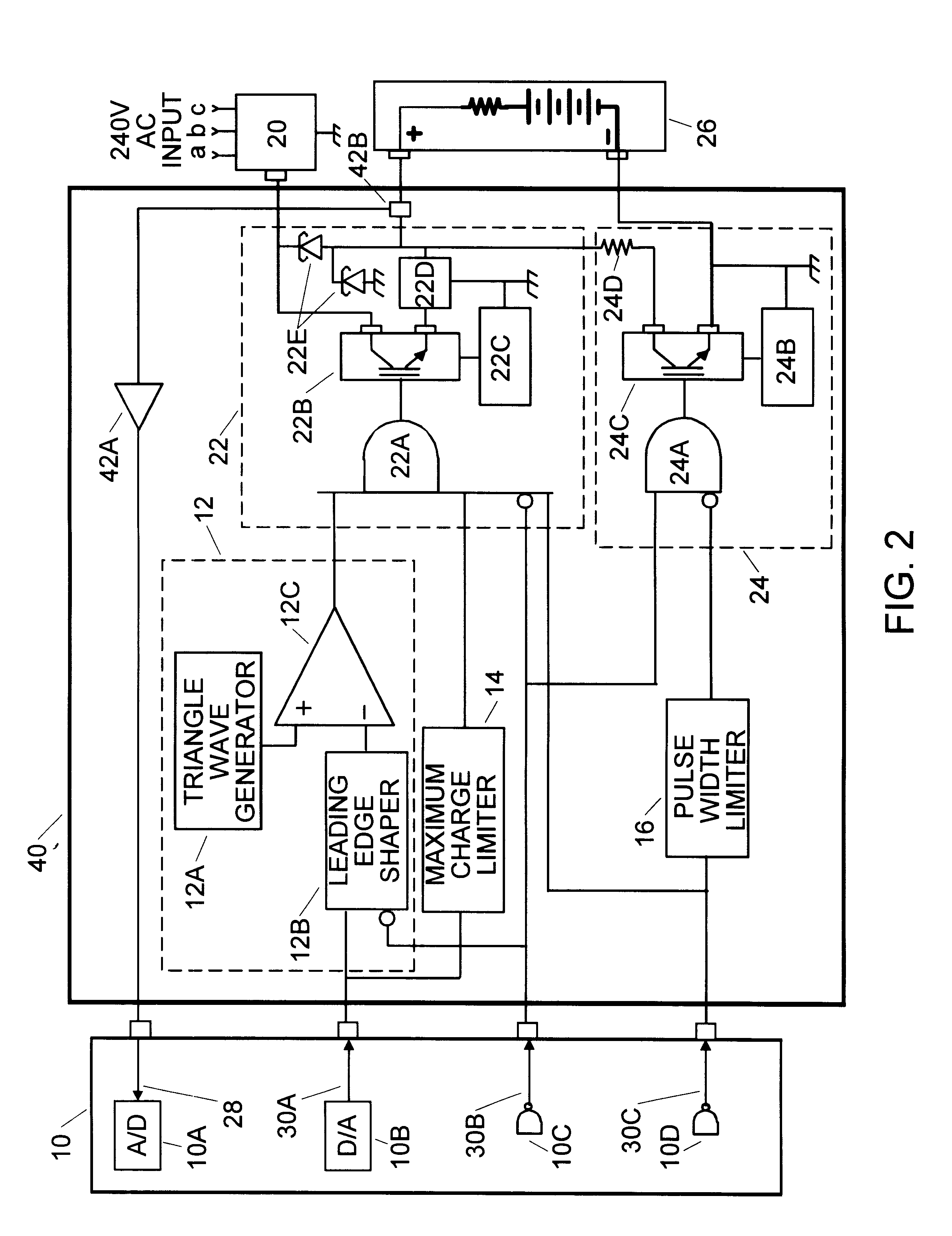 Patent Us6307352 High Energy Charge And Depolarization Pulse Triangular Wave Signal Generator Circuit Drawing