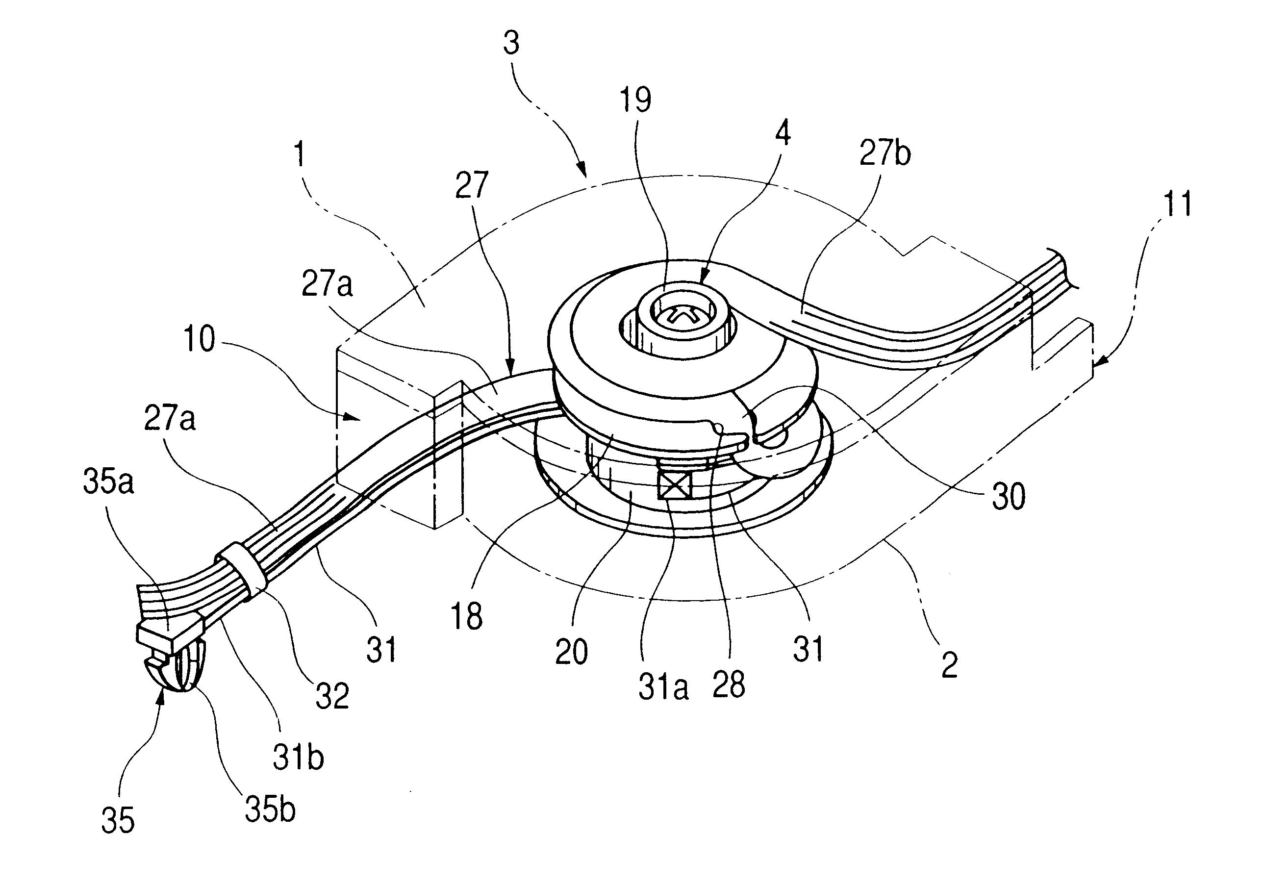 patent us6328243 - reel device for wire harness