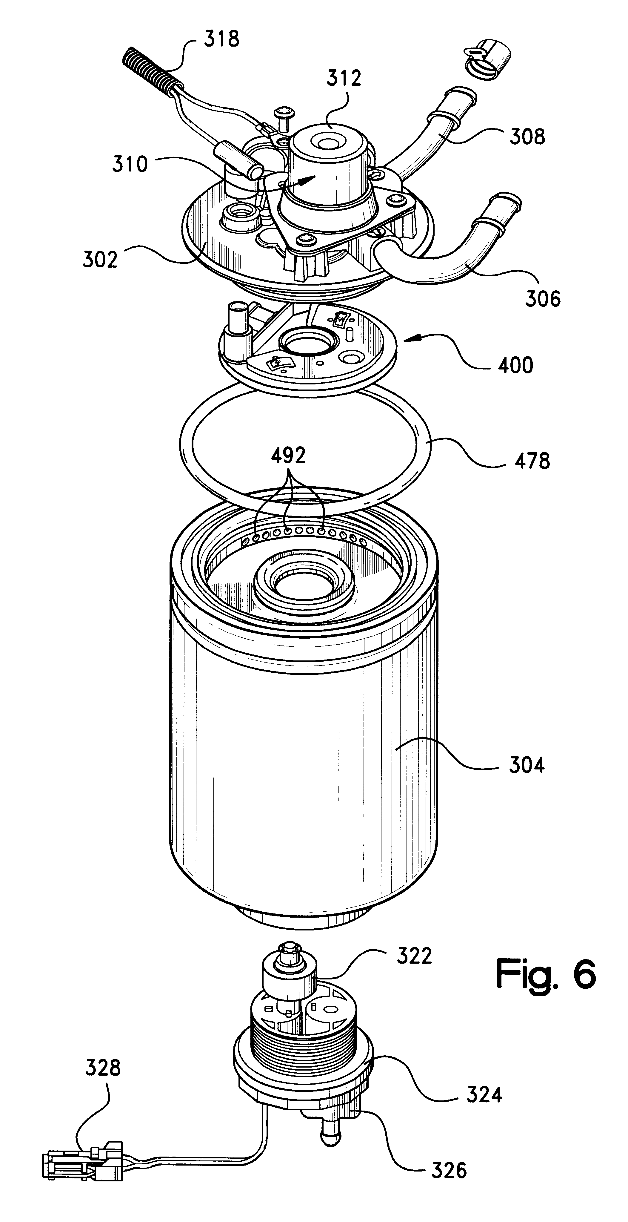 patent us6328883 - fuel filter assembly with priming pump