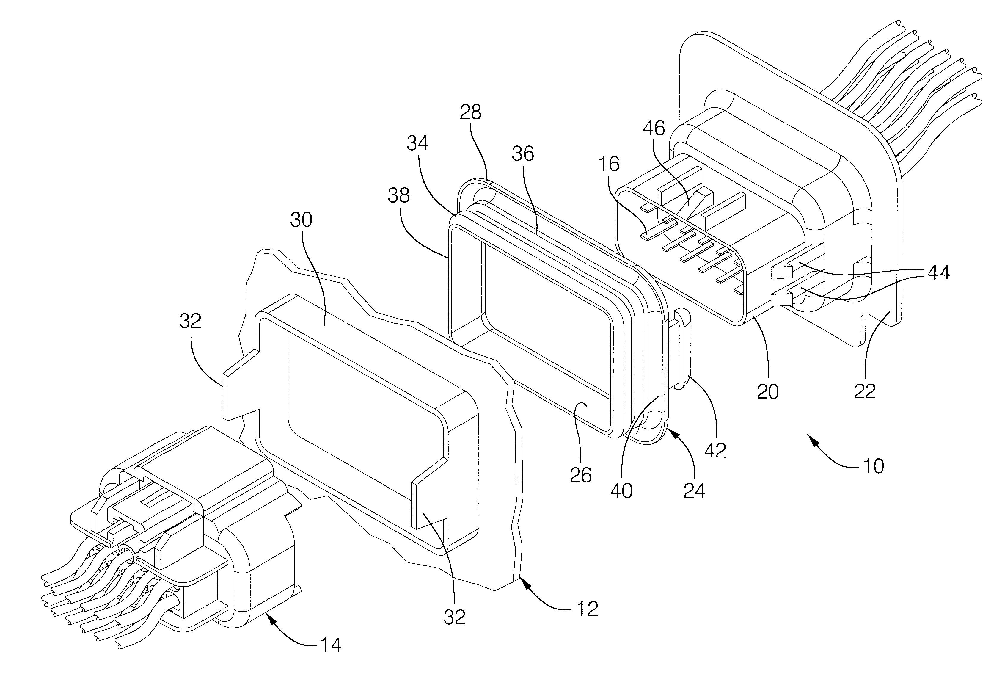 patent us6338651 electrical connector assembly with seal Yazaki Connectors patent drawing