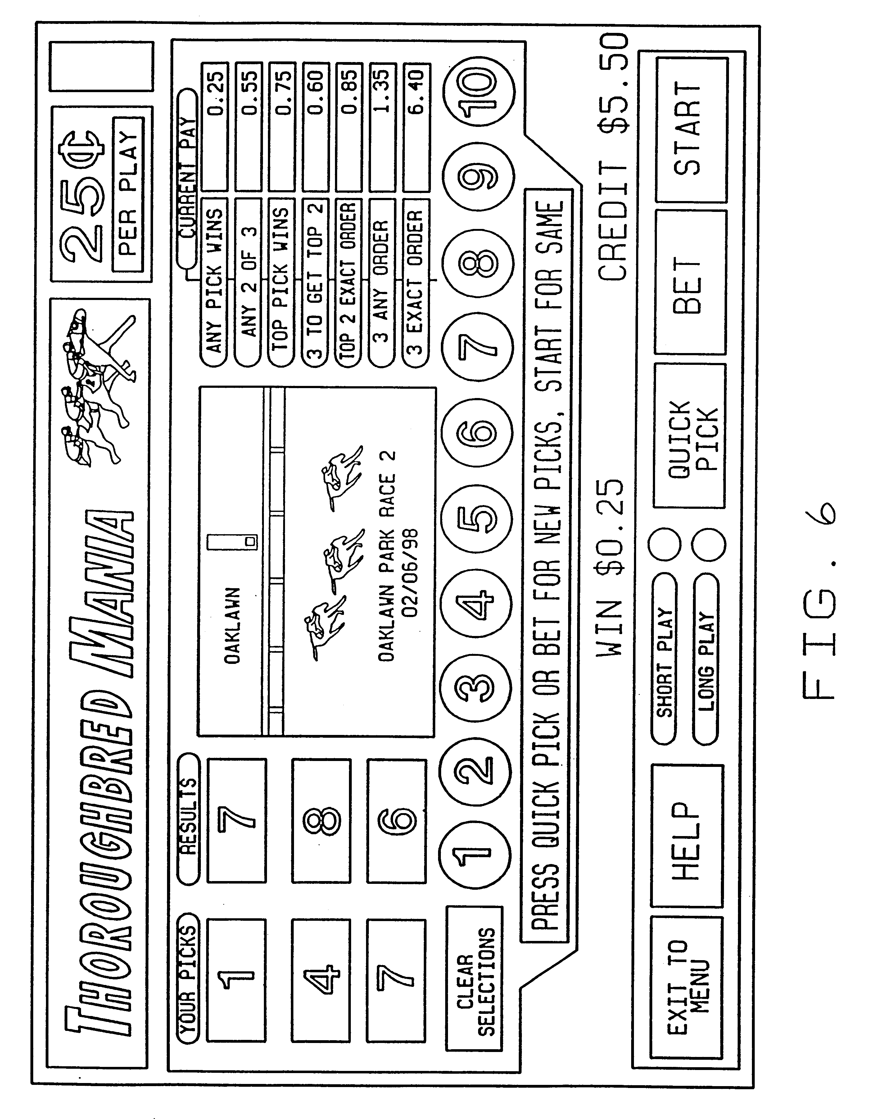 Patent US6358150 - Methods and apparatus for parimutuel historical
