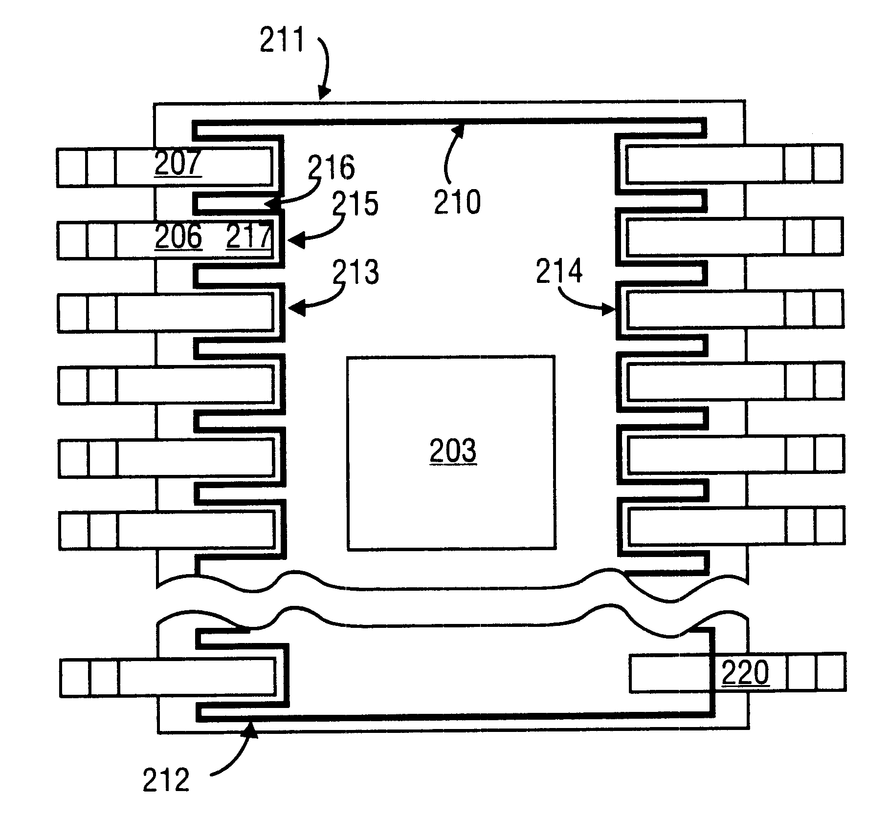 patent us6365960 - integrated circuit package with emi shield