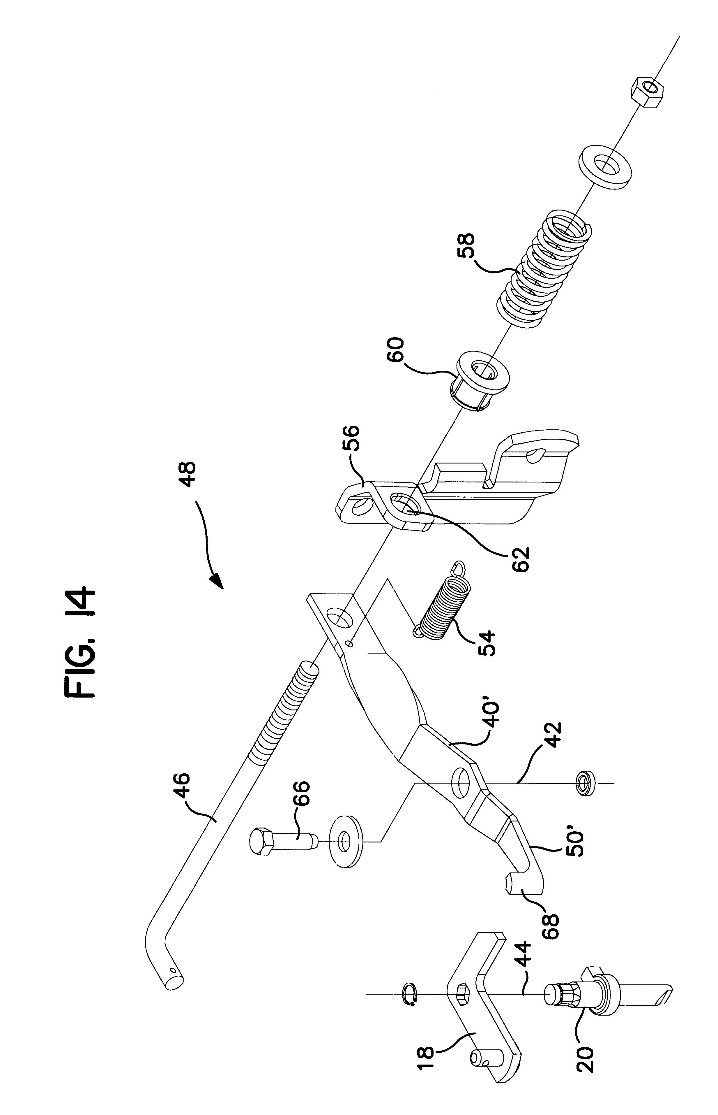 Patent US6374604 - Hydrostatic transmission bypass latch - Google