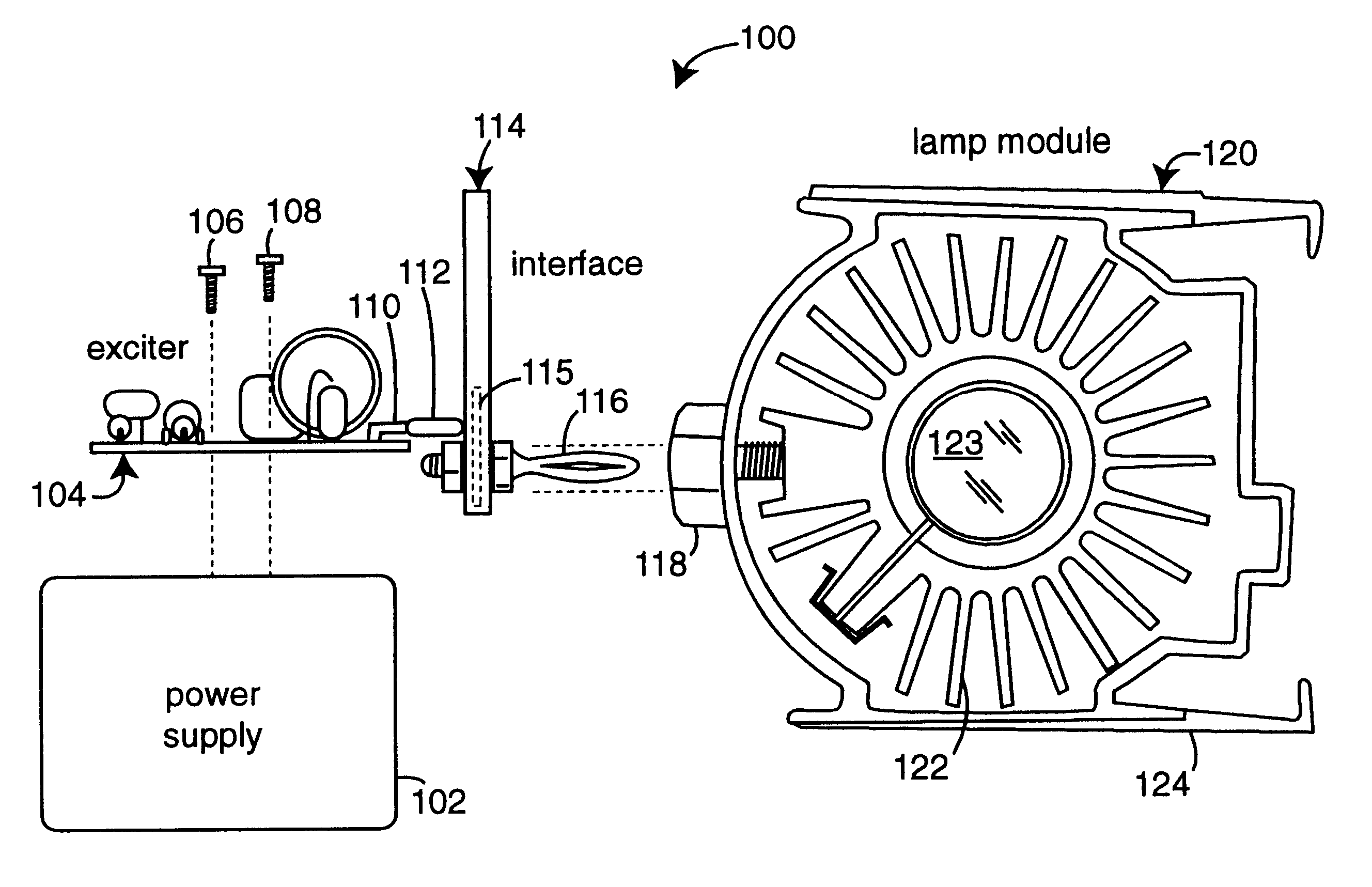 patent us6376993 - power supply to xenon arc lamp interface
