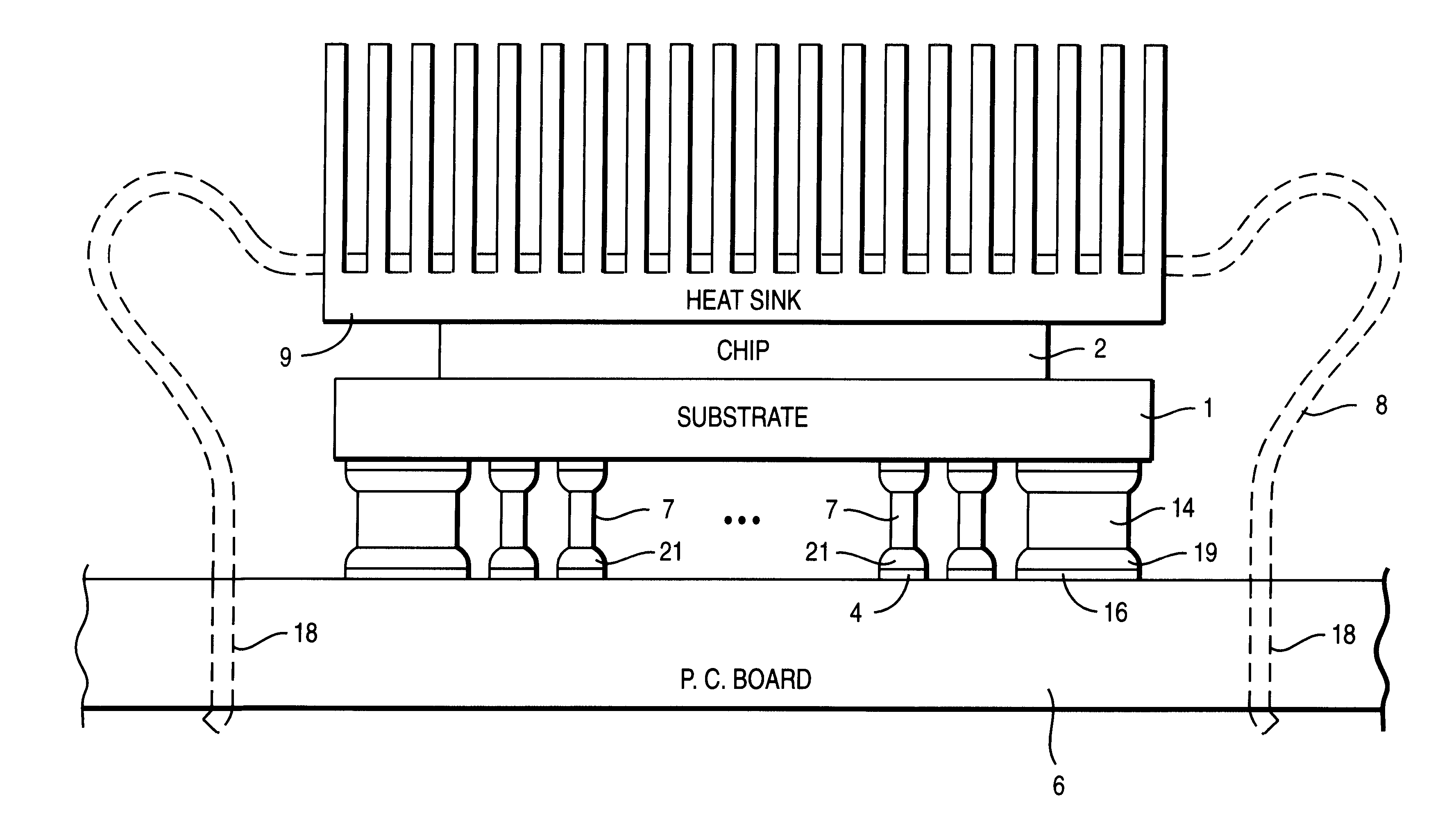 patent us6395991 - column grid array substrate attachment with heat sink stress relief