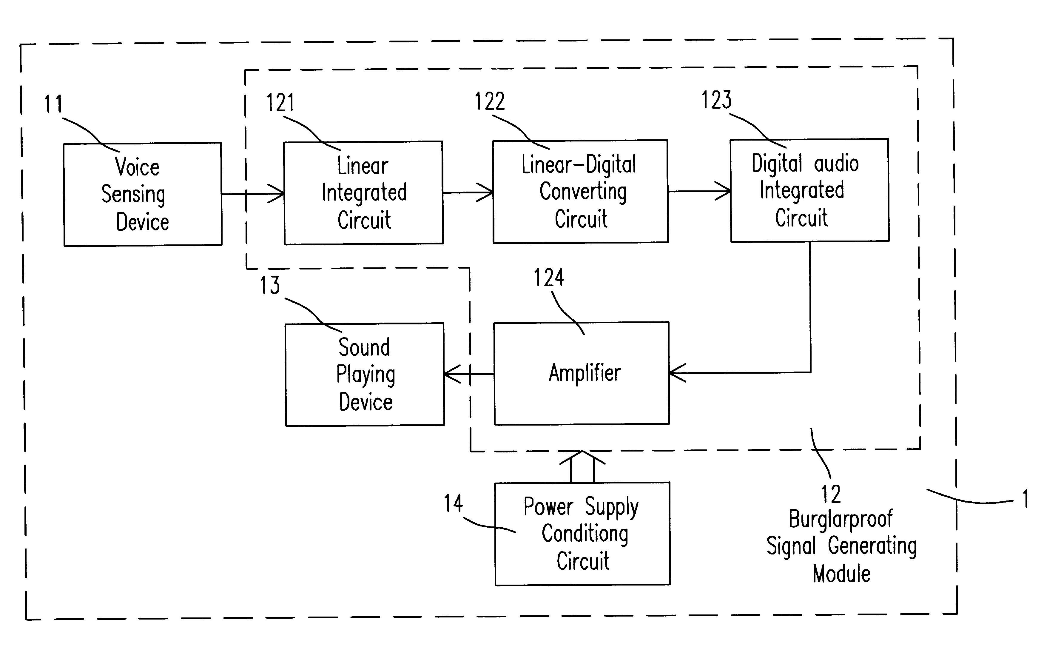 Patent Us6417769 Voice Controlled Burglarproof Device Google Patents Voiceactivated Circuit Diagram Controlcircuit Drawing