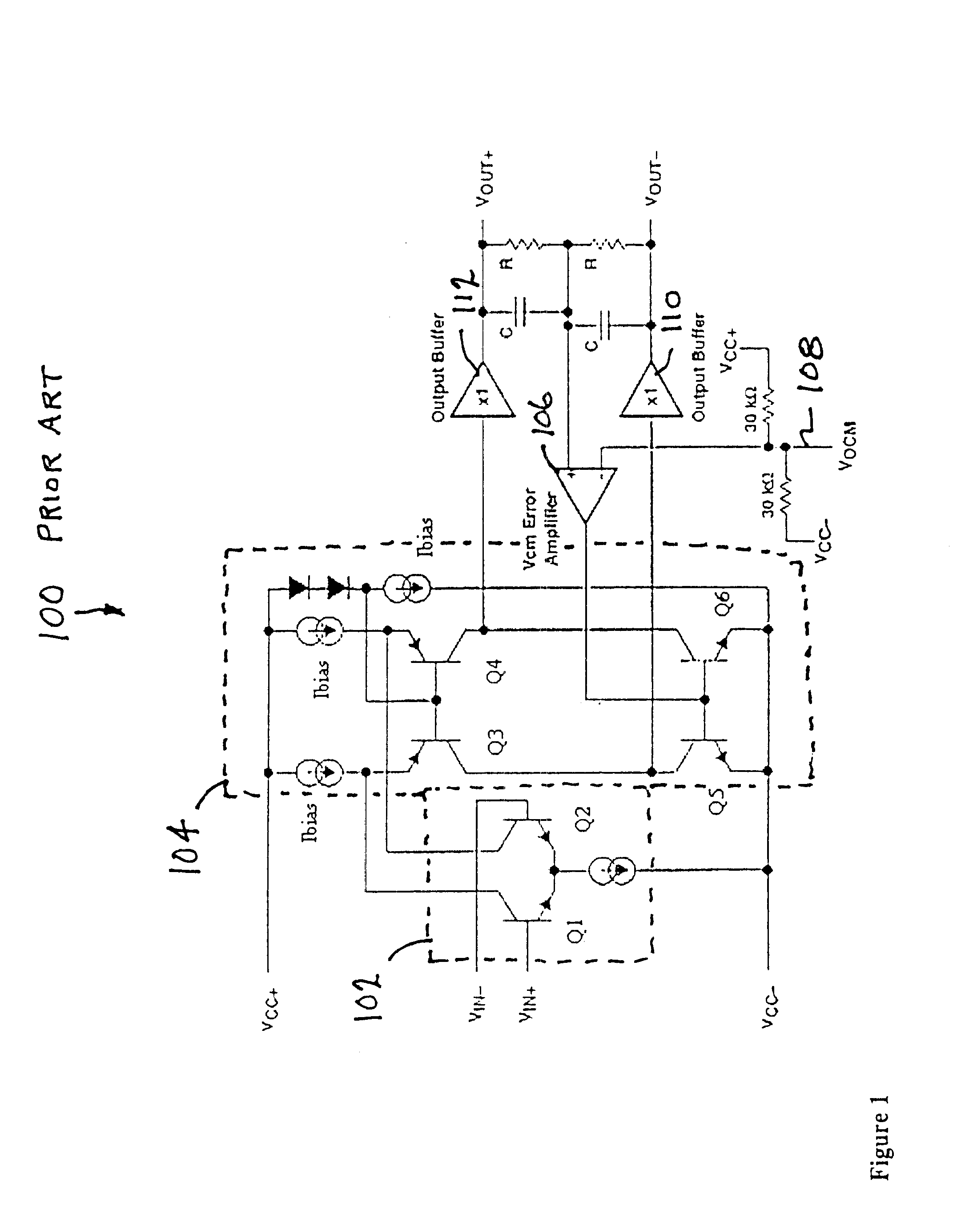 Patent Us6459338 Single Loop Output Common Mode Feedback Circuit Inverting Amplifier With Class Ab Drawing