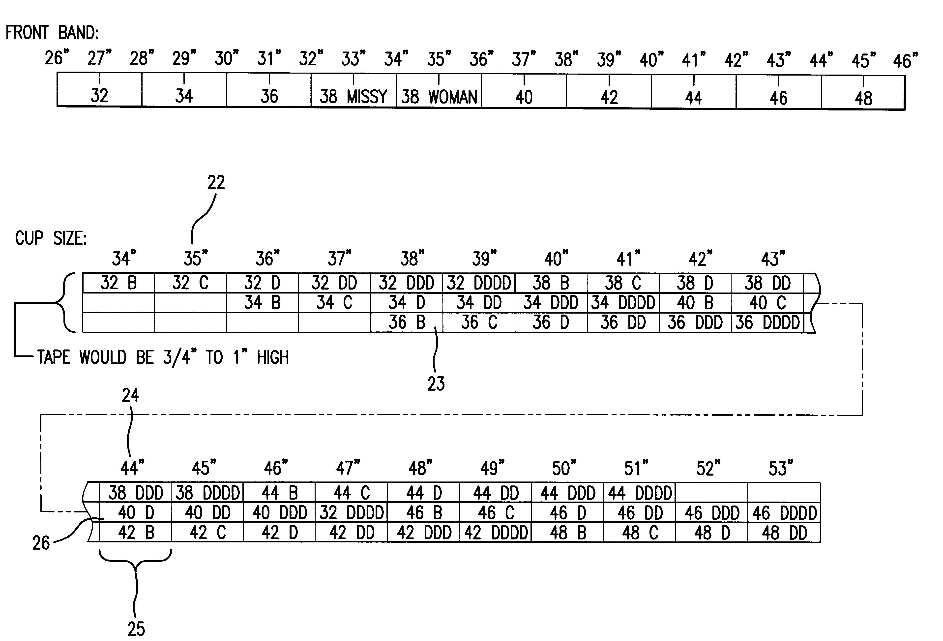 patent us6467180 measuring tape for determining bra size google patents. Black Bedroom Furniture Sets. Home Design Ideas