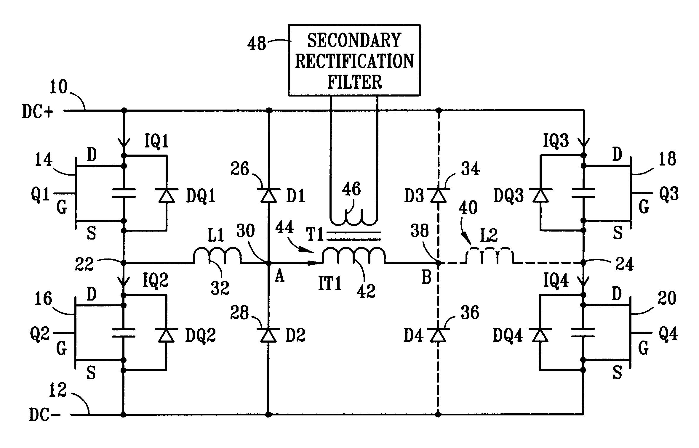 patent us6483724 - dc  dc zvs full bridge converter power supply method and apparatus