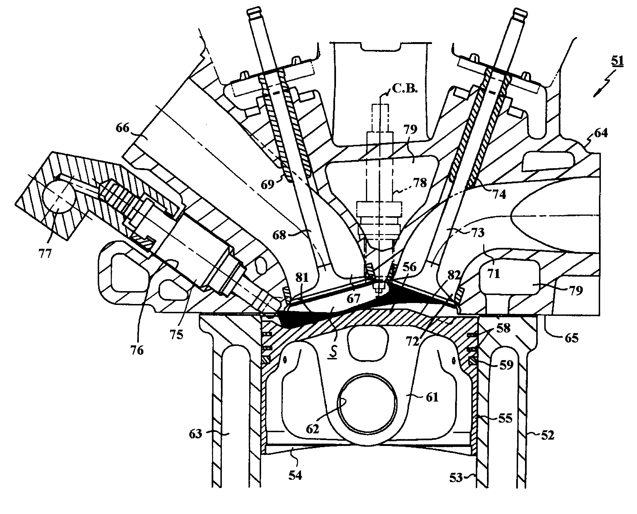 patent us6508226 - combustion chamber for direct injection engine
