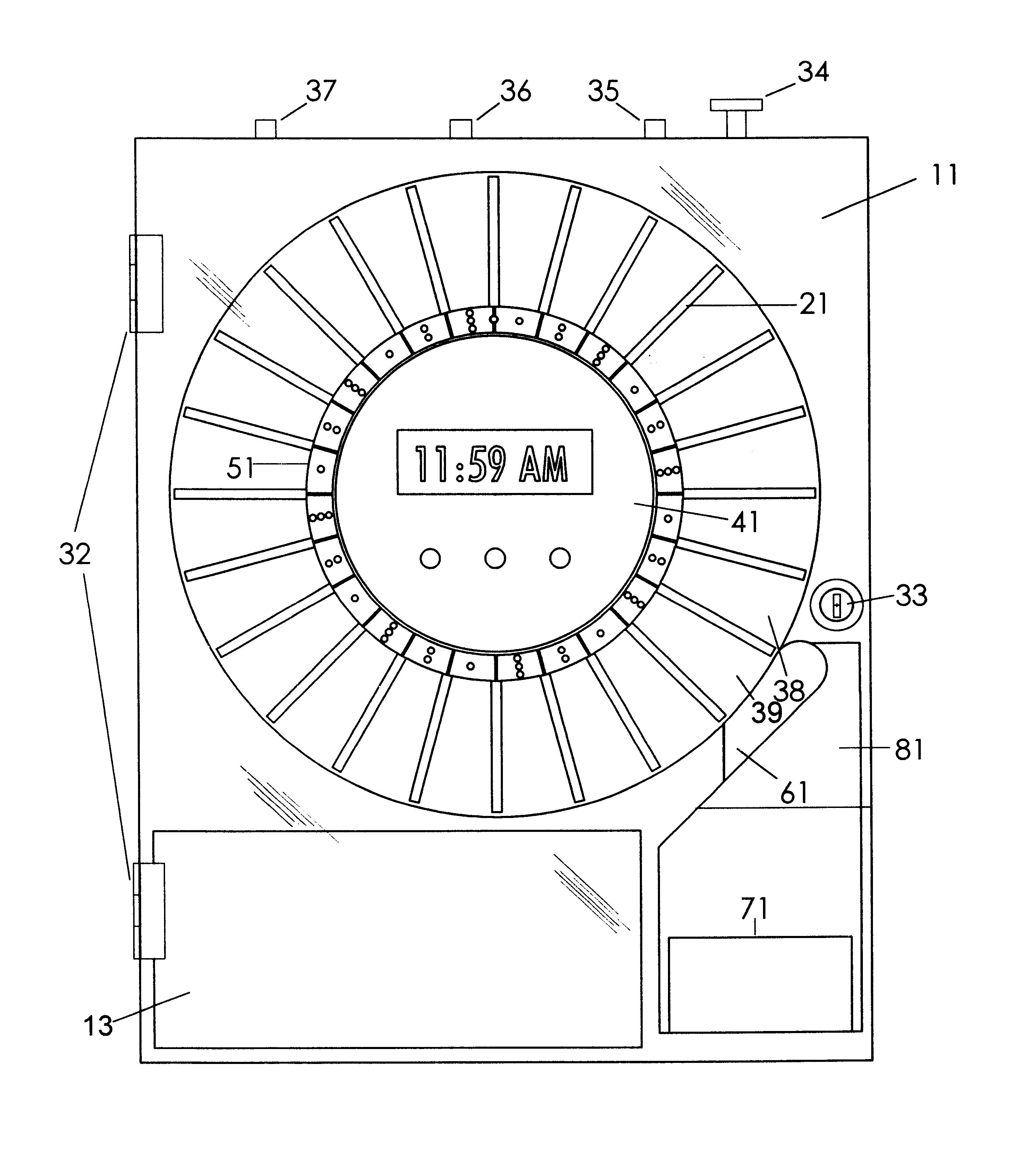 patent us6510962 - programmable automatic pill dispenser