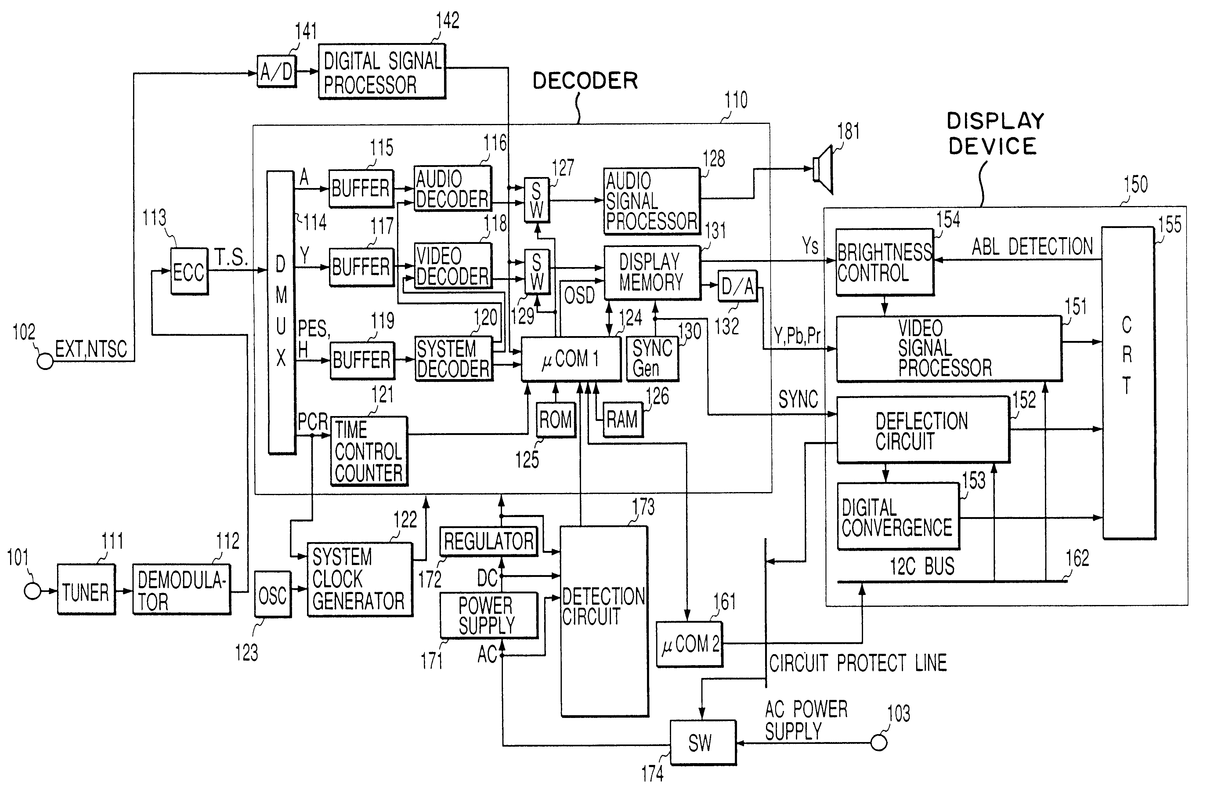 Patent Us6529245 Display Device Also Compatible With Digital Circuit Diagram Of Synchronized Mains Voltage Power Control Drawing