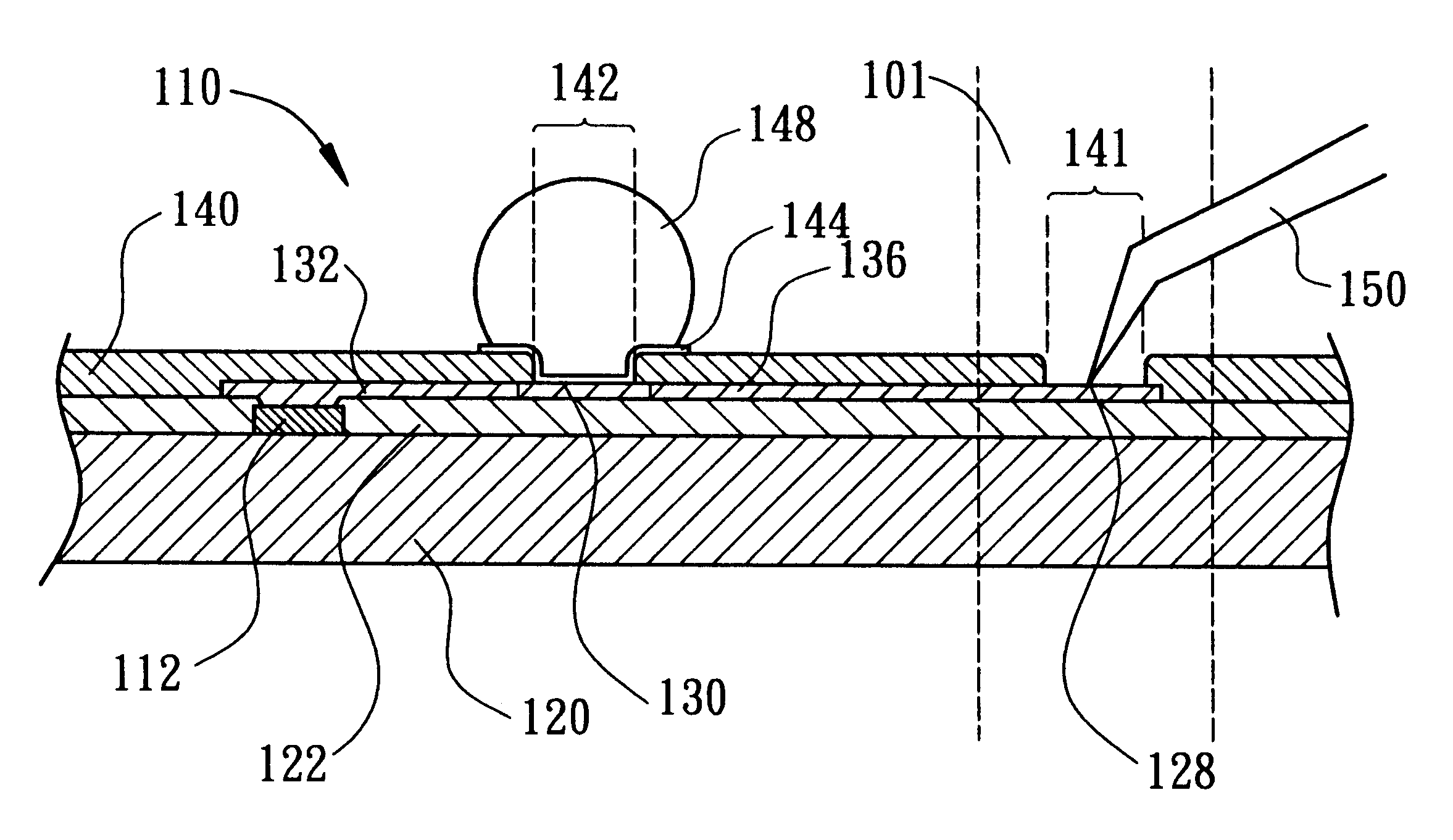 patent us6534853 - semiconductor wafer designed to avoid probed marks while testing