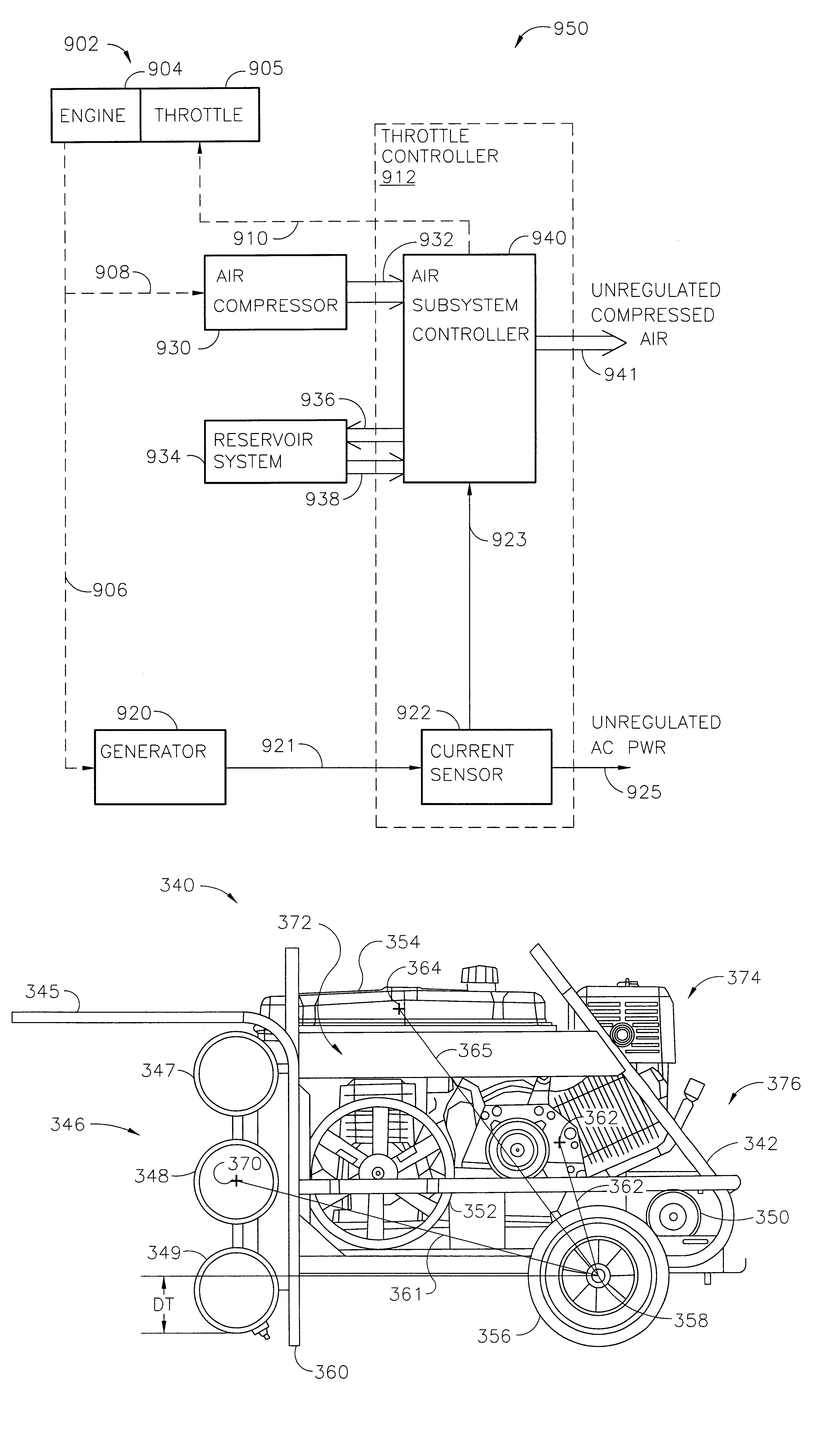 Patent Us6534958 System That Supplies Electrical Power And Overvoltage Protected Compressor Control Drawing