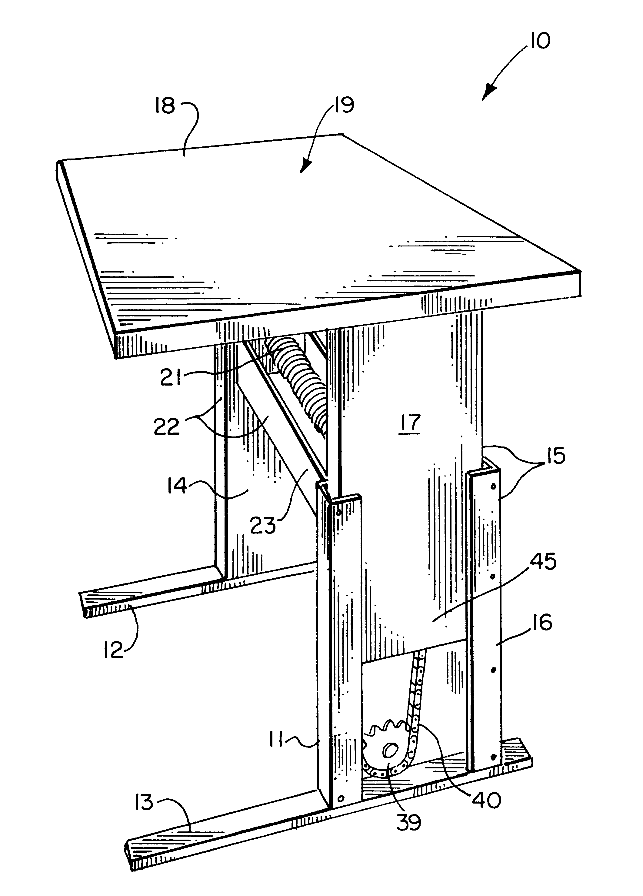 Patent Us6546880 Height Adjustable Table Google Patents