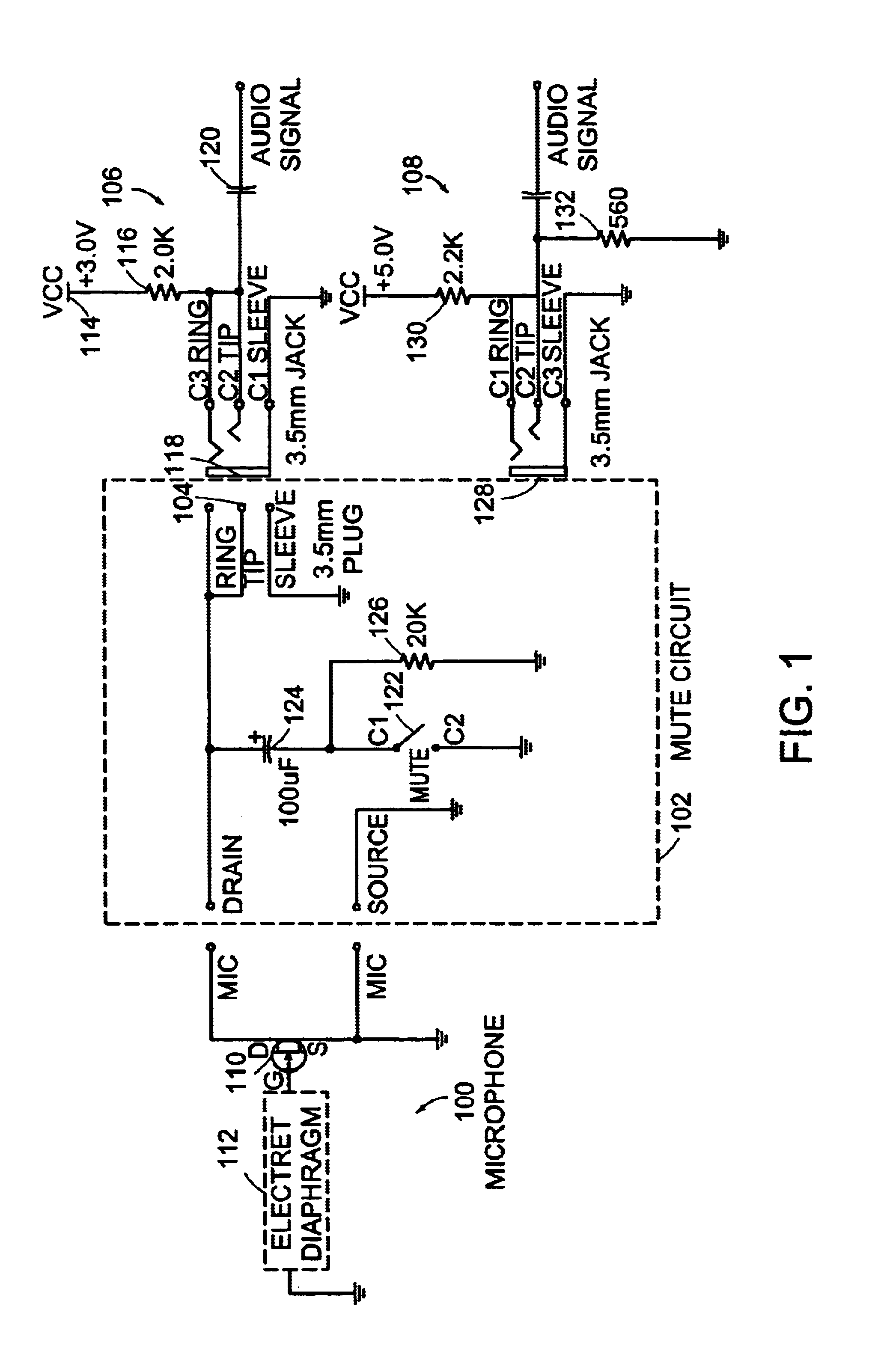 Patent Us6681020 Microphone Circuit With Mute And Keep Alive Noise Pink Generator Diagram Electronic Circuits Drawing