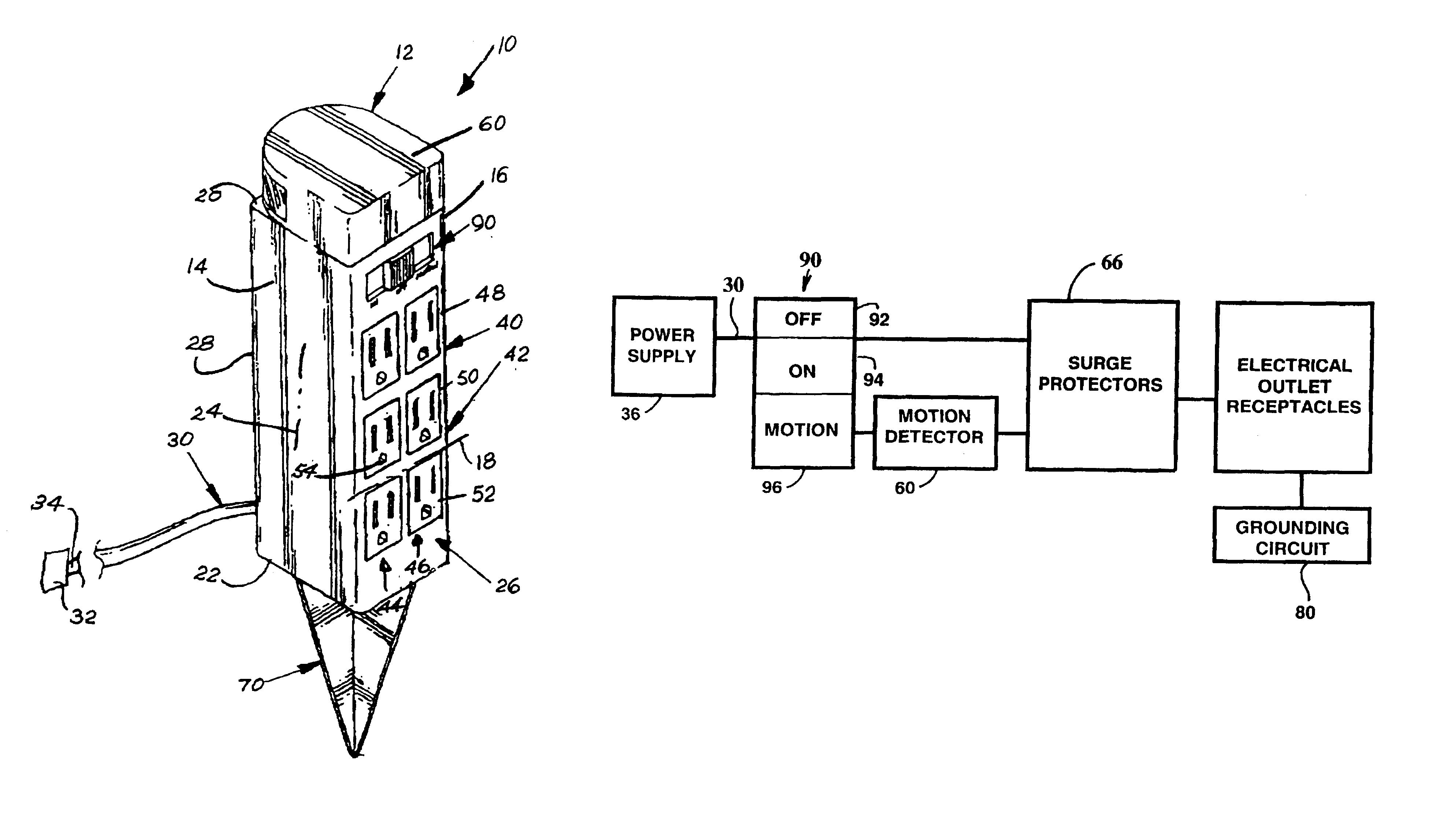 patent us6731024 - motion sensor-controlled power strip