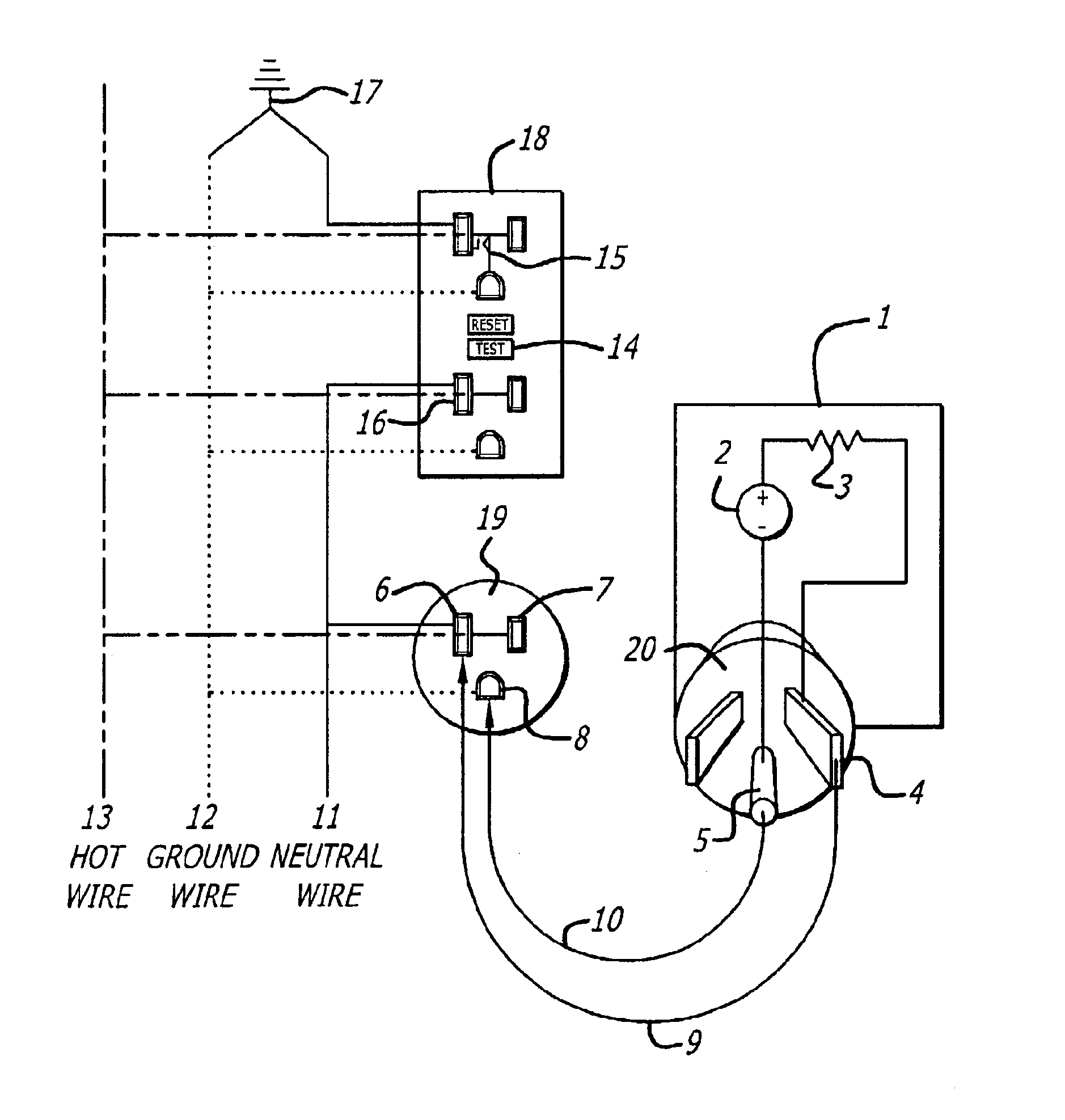 patent us6734680 - ground fault interrupt analyzer method and apparatus
