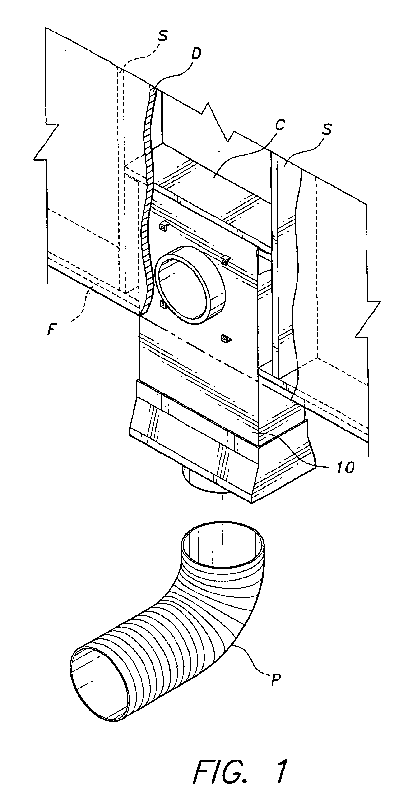 patent us6754976 - in-wall dryer vent for venting to another floor