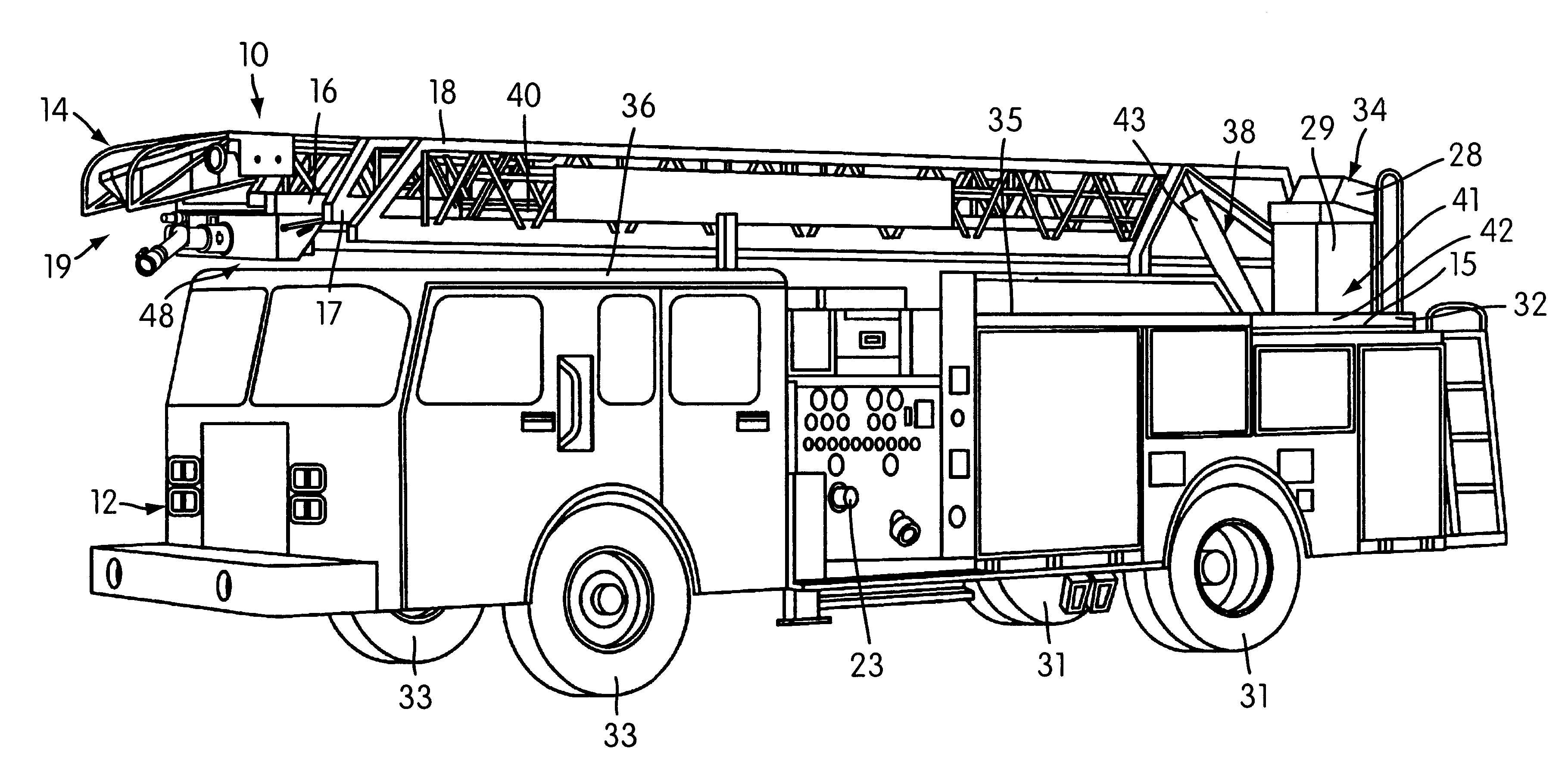 Trailer Truck Assembly Diagram Wiring Will Be A Thing Air Brakes Schematic Patent Us6755258 Aerial Ladder Fire Fighting Apparatus Tarctor Damage Axle Weight