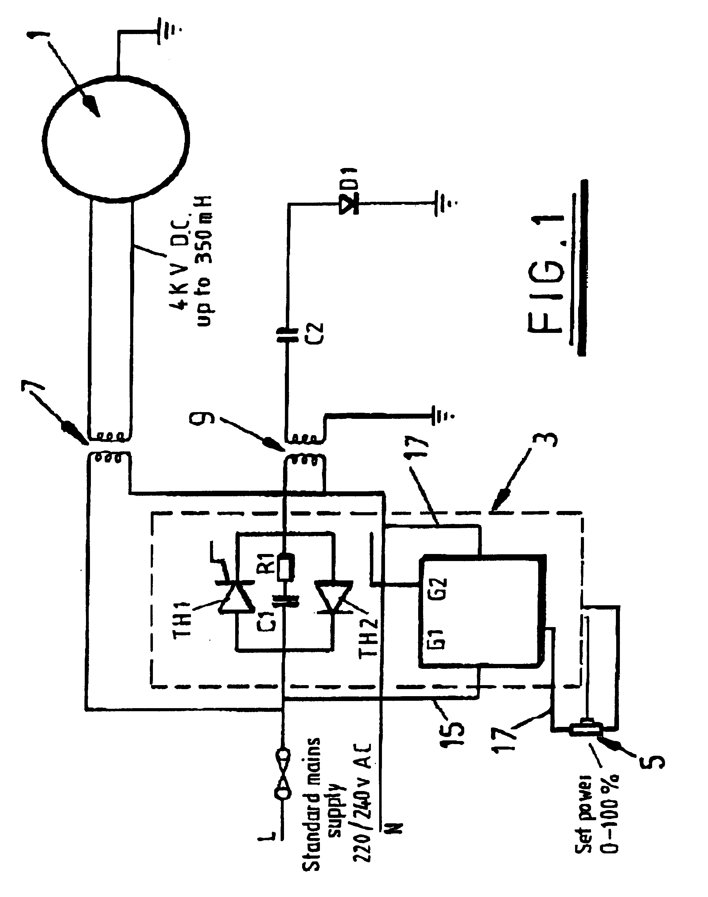patent us6771025 magnetron controller with transformer controlling Reverse Polarity Switch patent drawing