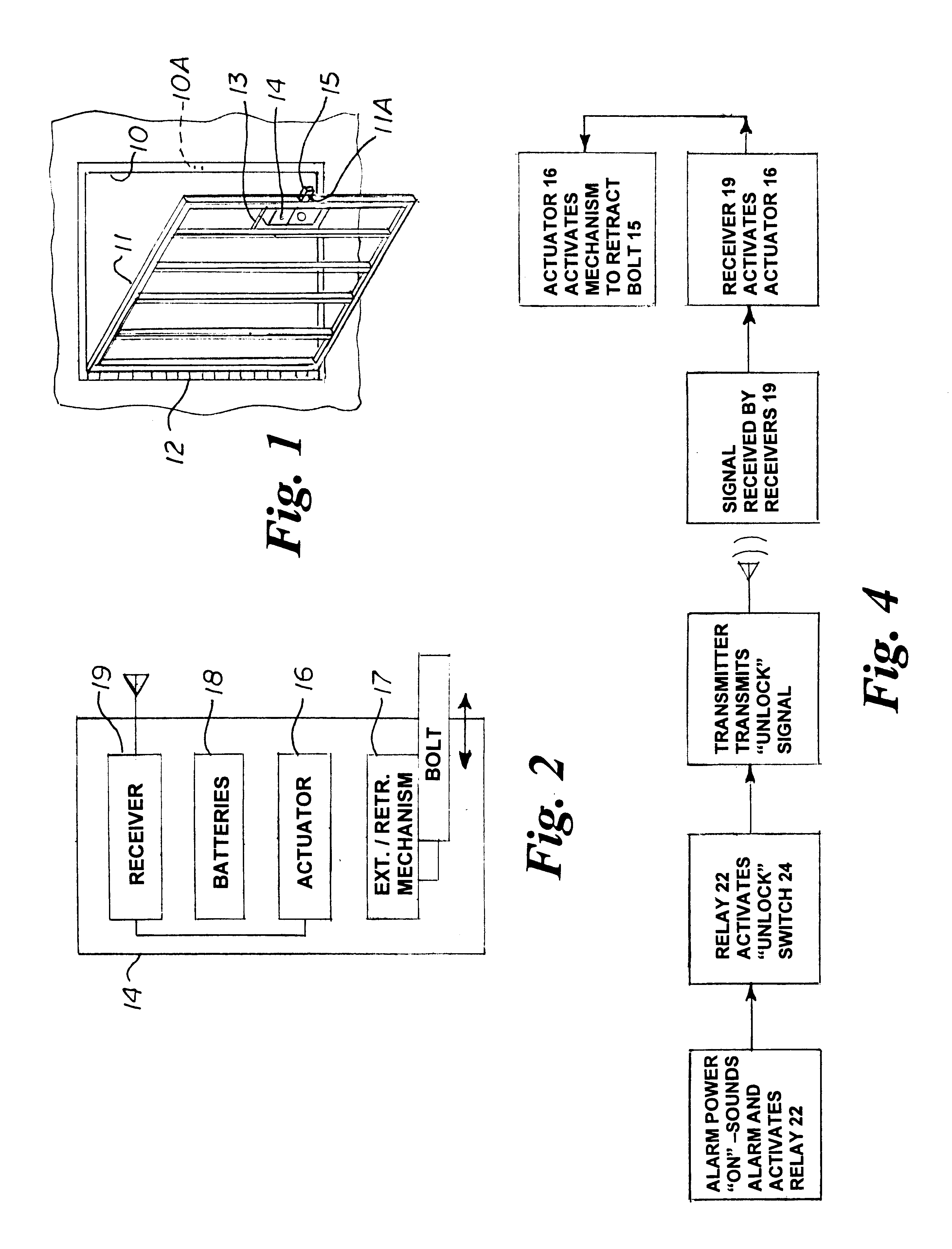 patent us6786005 - emergency release burglar bars actuated by smoke alarm