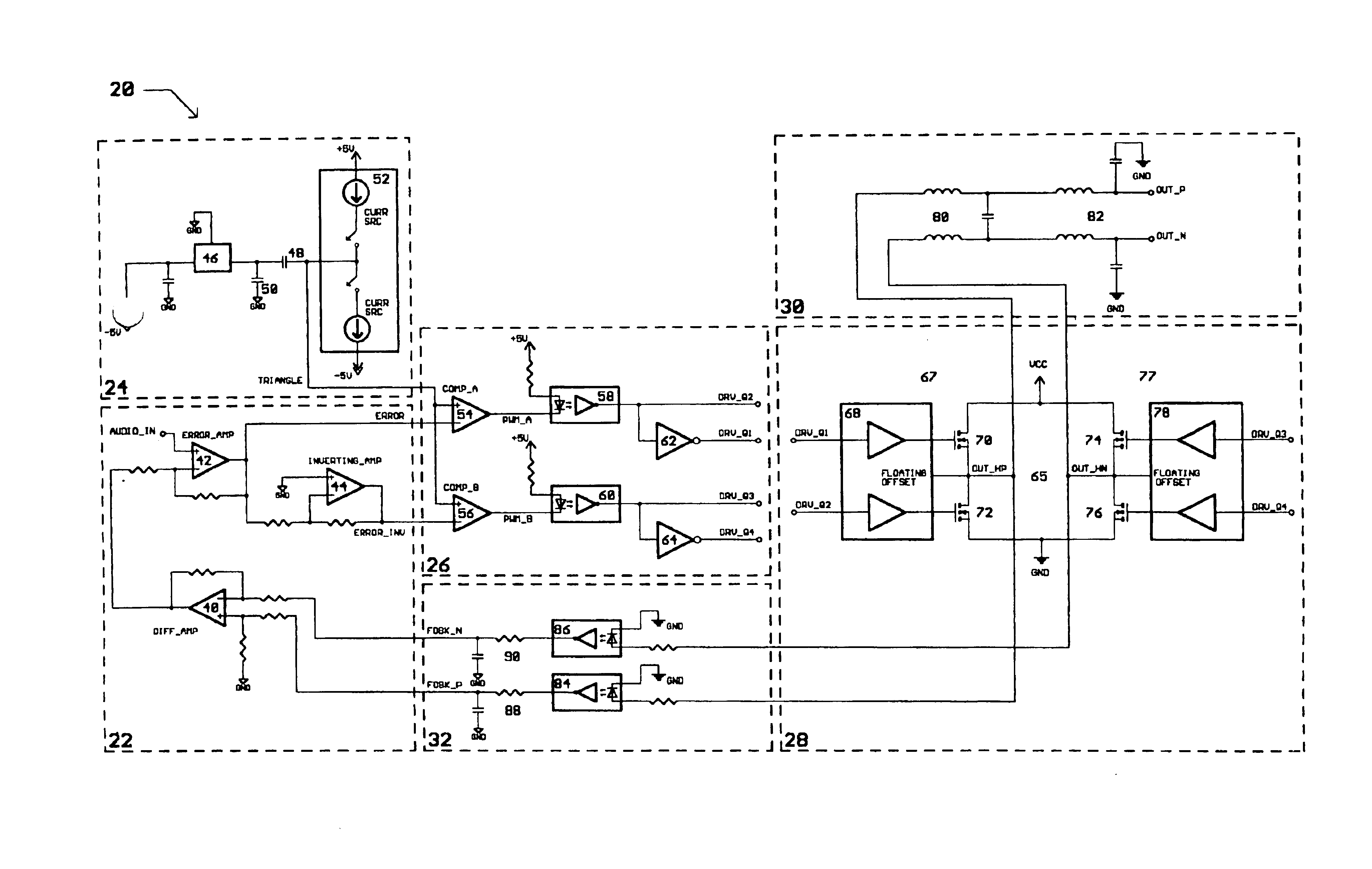 Patent Us6794932 Class D Switching Audio Amplifier Google Patents Circuit Diagram Drawing