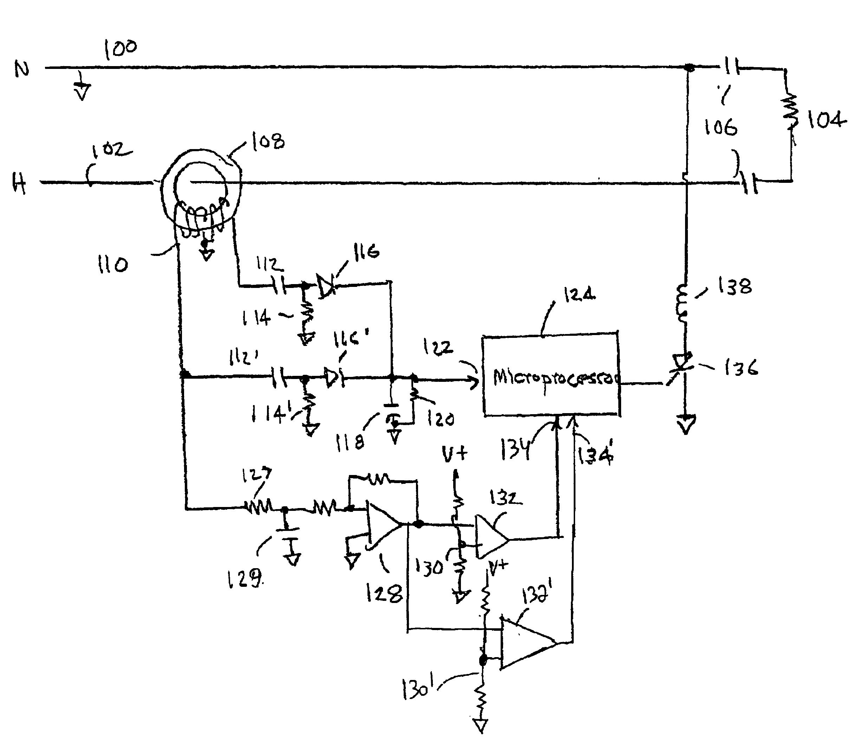 patent us6798628 arc fault circuit detector having two arc fault Charge Controller Circuit Breaker Diagram patent drawing