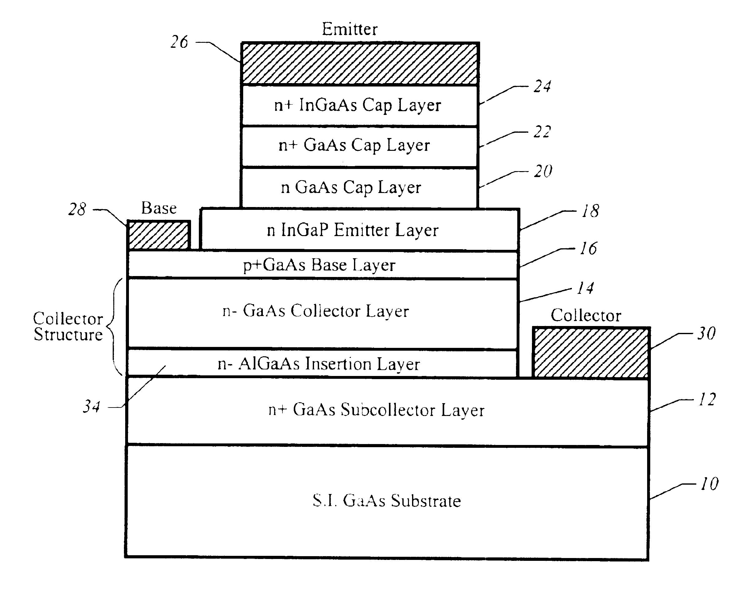 patent us6806513 - heterojunction bipolar transistor having wide bandgap  material in collector - google patents