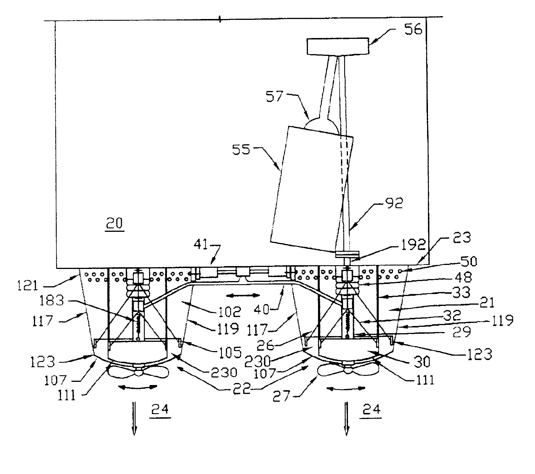 patent us6823812 - trim tabs and surface drive propeller bite control