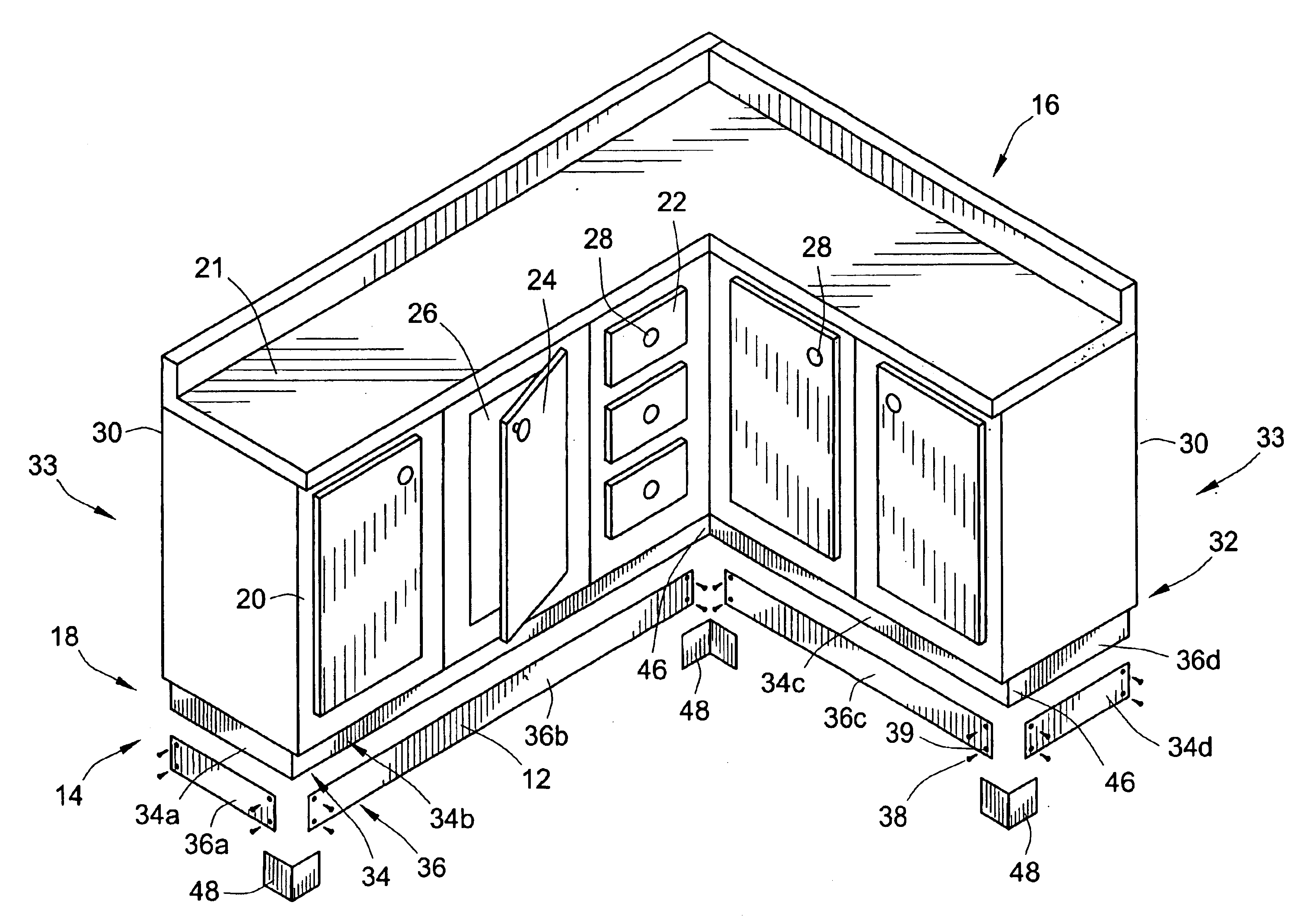 Patent Us6840591 Metallic Toe Kick For Wooden Cabinets