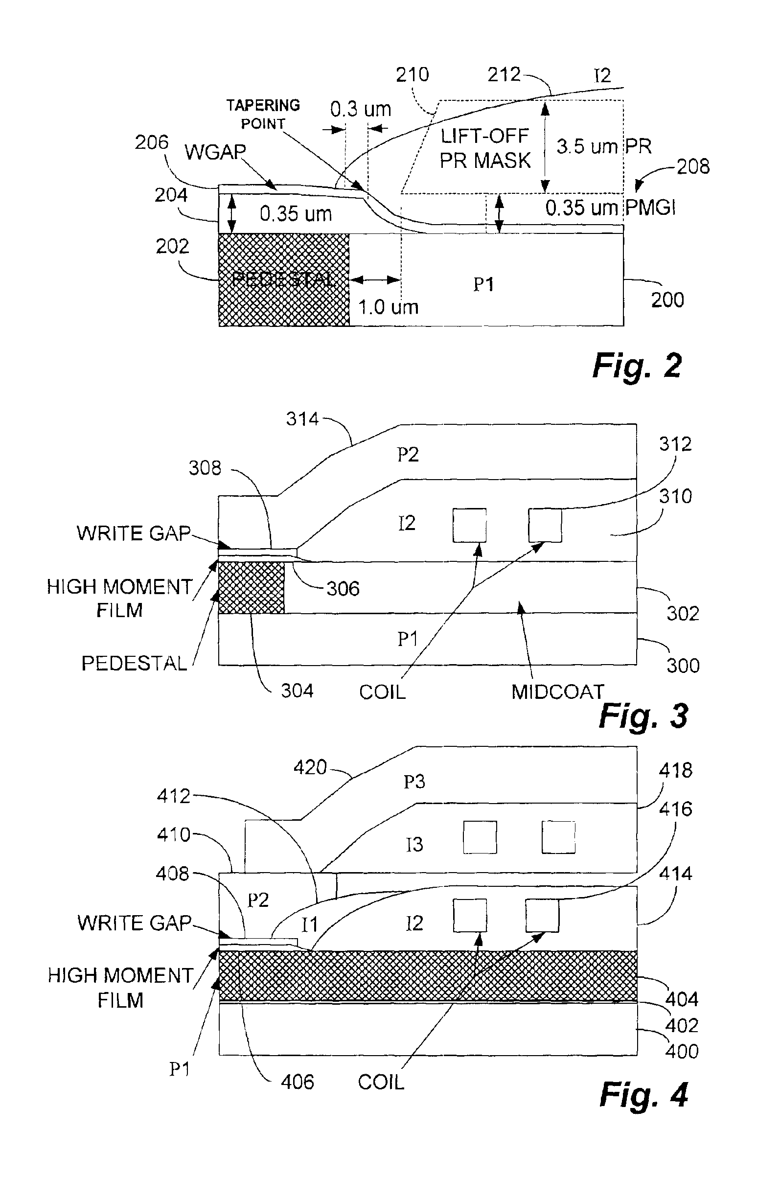 Patent Us6873494 Write Head With High Moment Film Layer Having Drawing Diagram