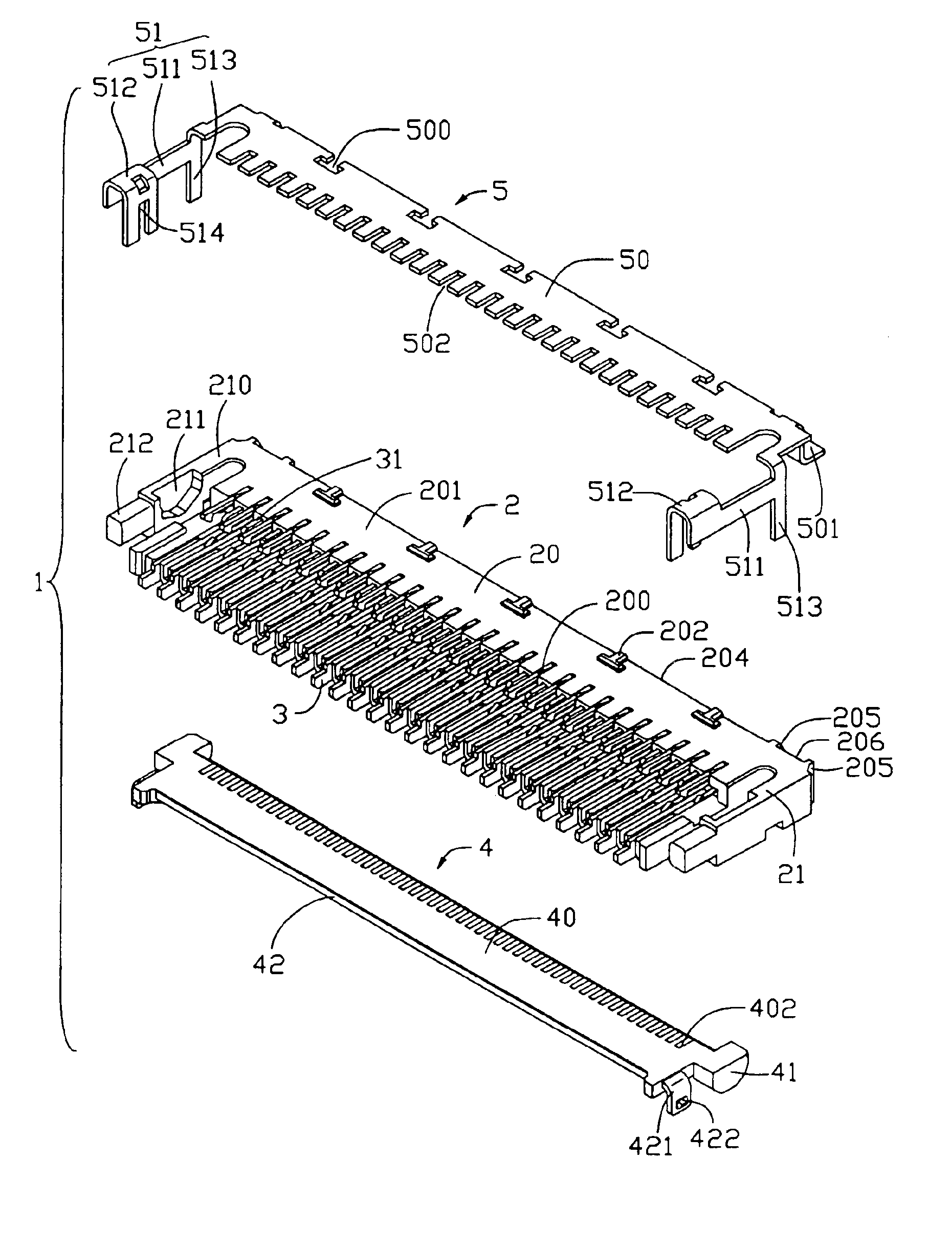 patent us6902425 - electrical connector for flexible printed circuit board