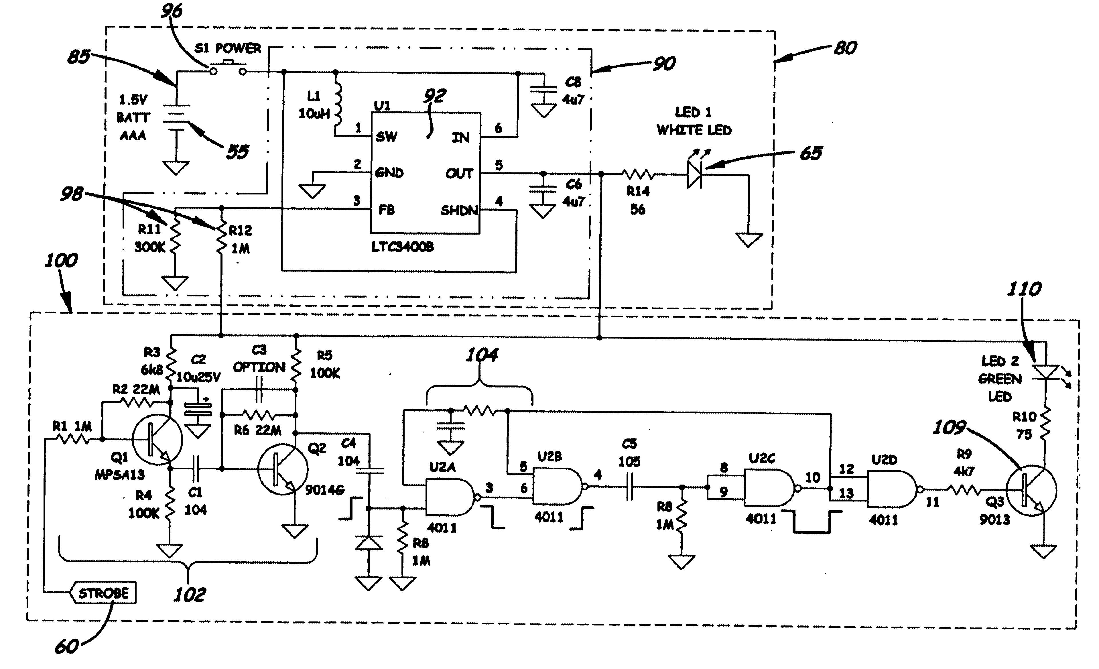 Led Flashlight Circuit Diagram Schematic Diagrams Use Supercapacitor Circuitschematic Patent Us6924605 Combination Voltage Detector And Wiring Calculator