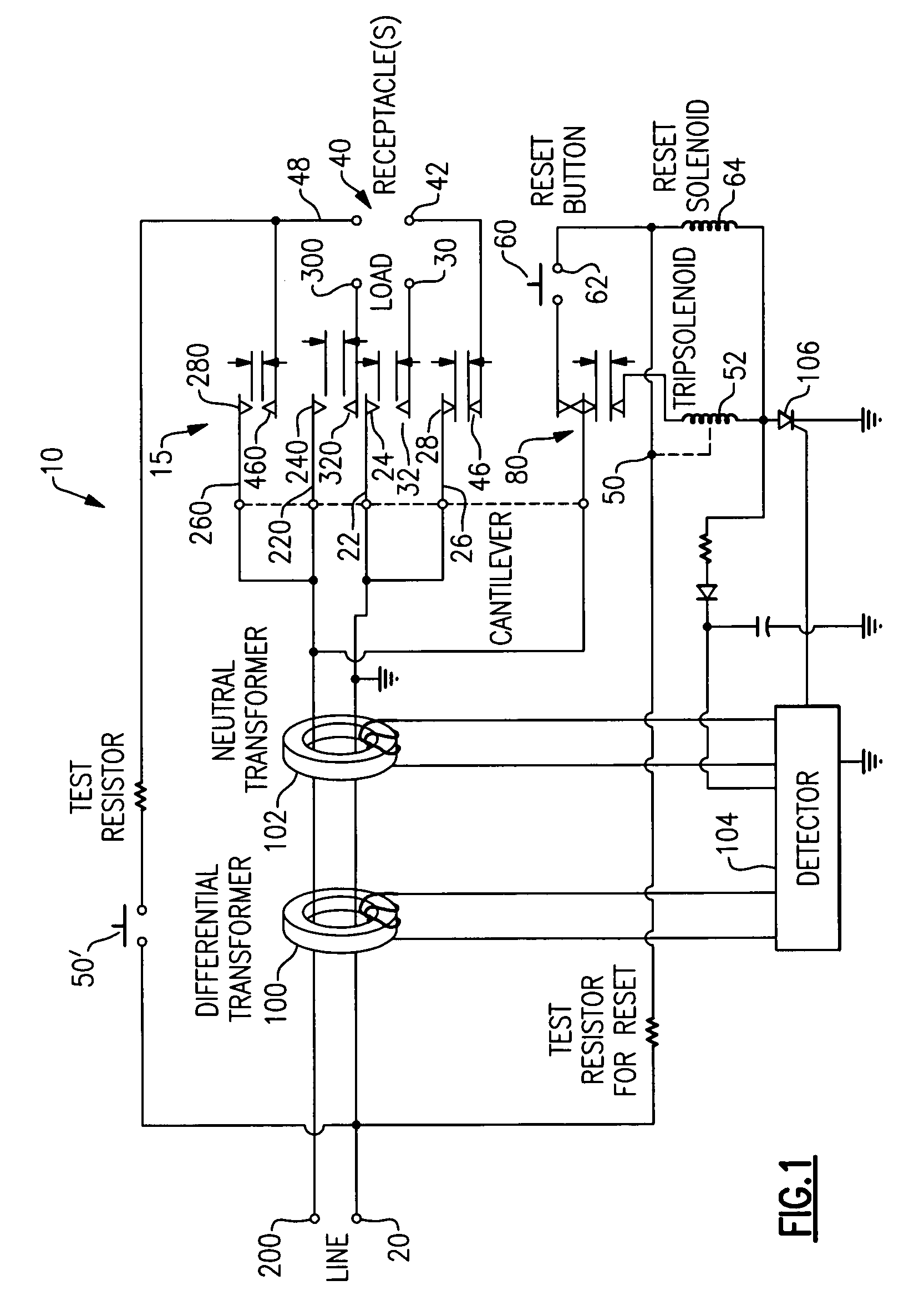 Patent Us6958895 Protection Device With A Contact Breaker Pass Seymour Arcfault Circuit Interrupter Afci Drawing