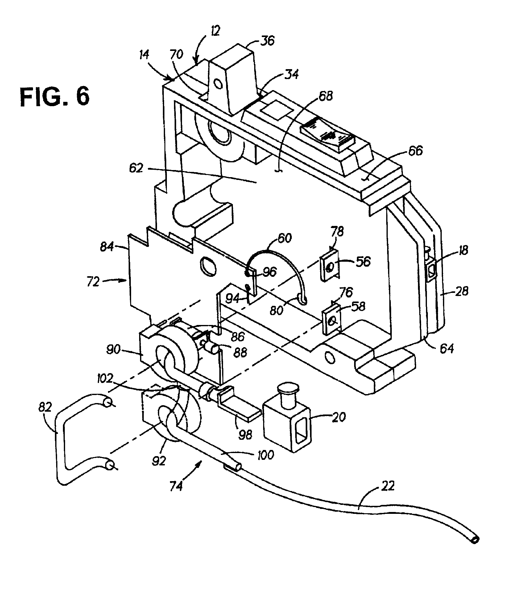 patent us6972936 pre emptive circuit breaker with arc fault and Ground Fault Wiring patent drawing