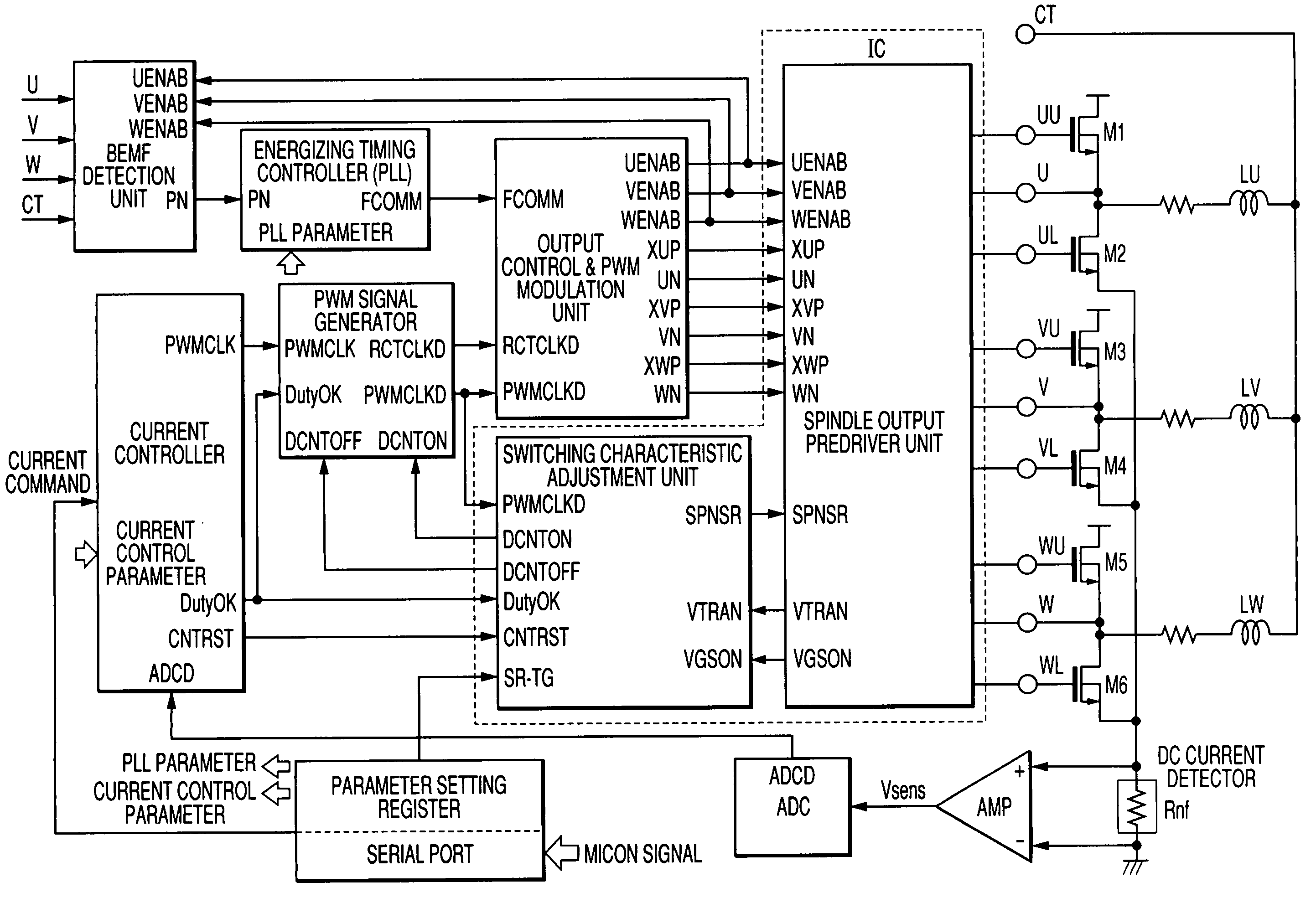 Patent Us6998801 Motor Drive Device And Integrated Gt Control Circuits A Dc Pwm Speed Circuit Drawing