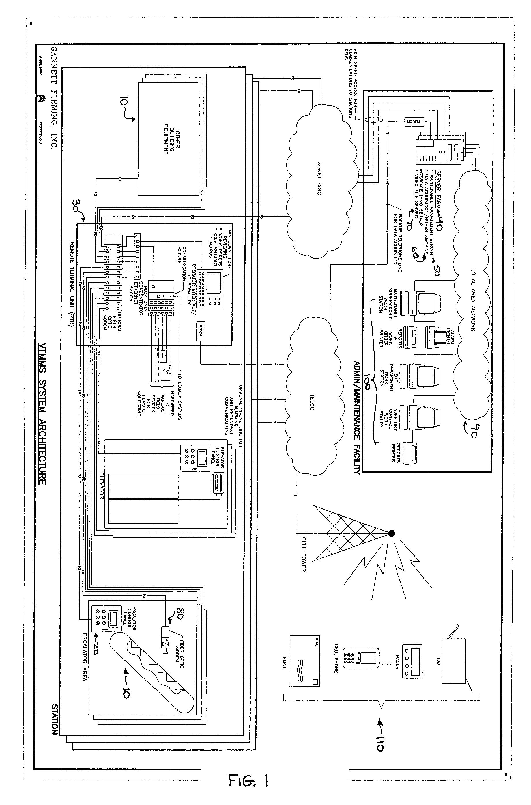 Patent Us7002462 System And Method For Remote Monitoring Escalator Schematic Drawing