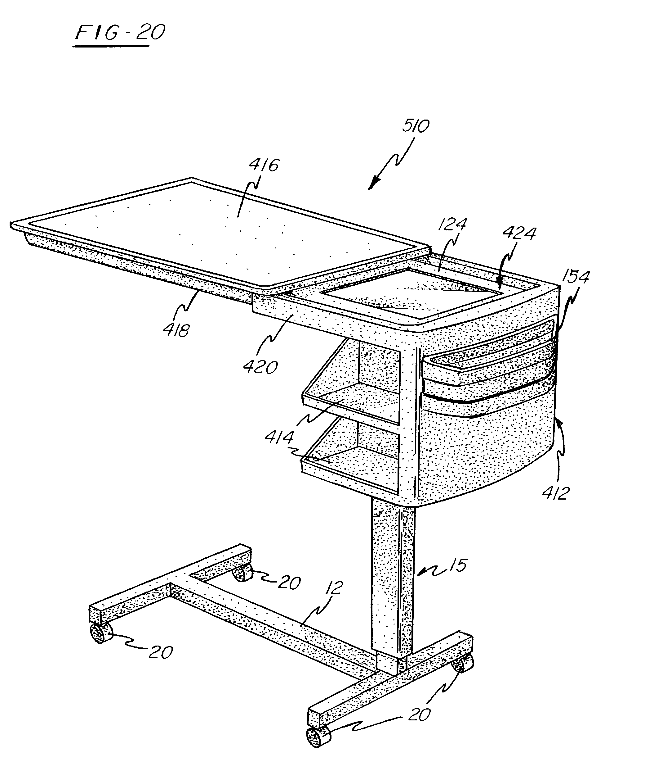 patent us7032522 - overbed table for use with a patient support