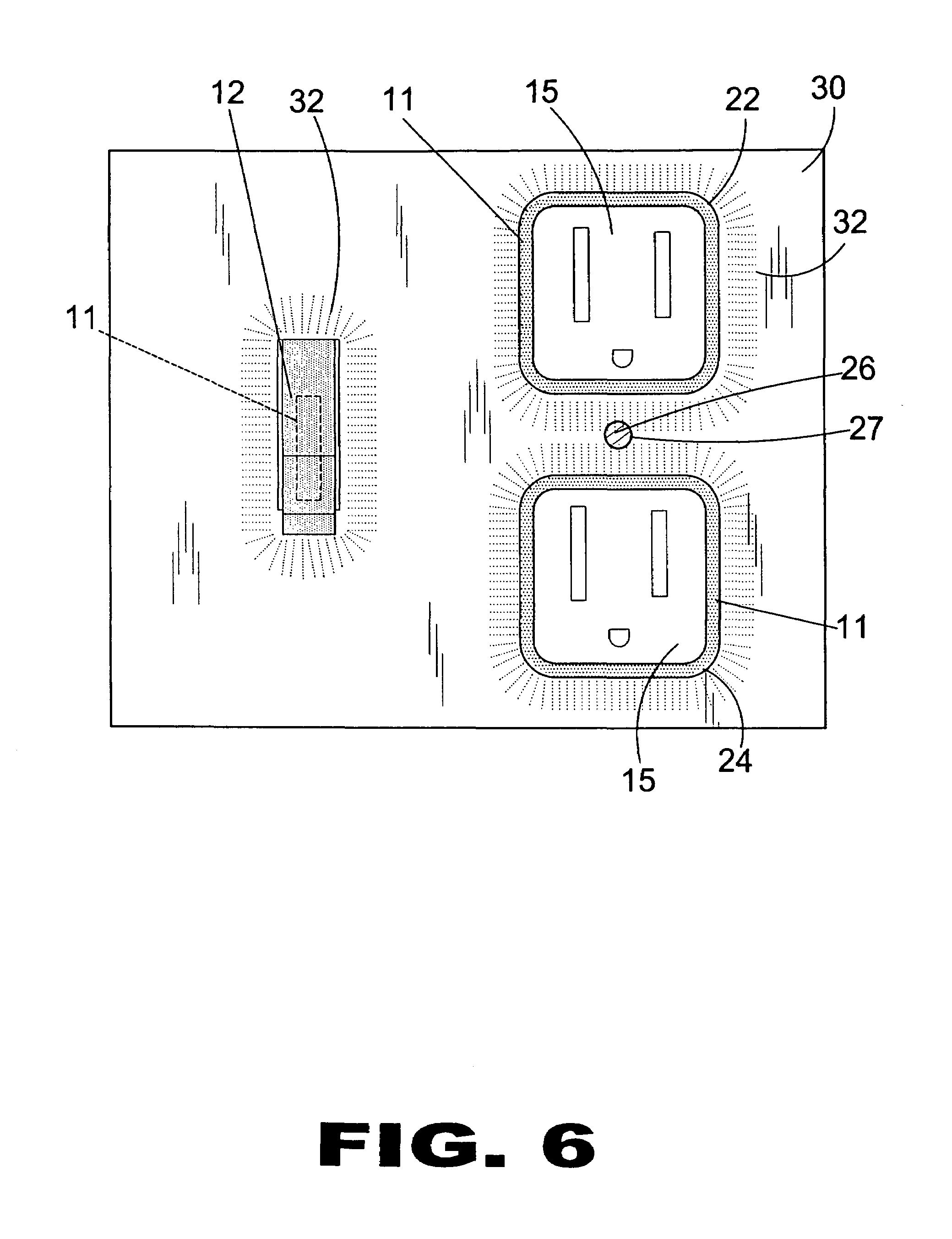 patent us7036948 - illuminated electrical outlet and light switch