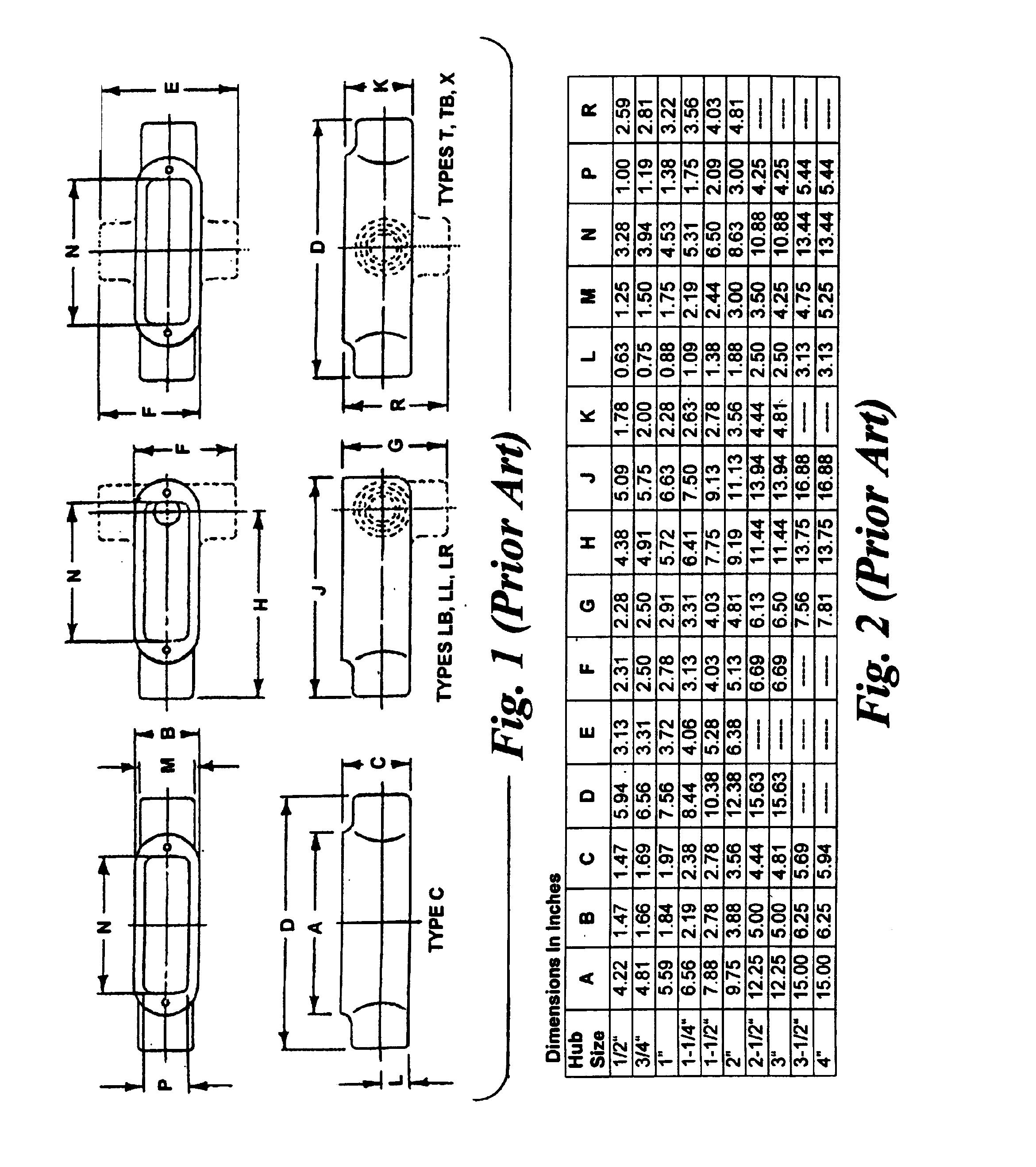 patent us7057104 - large-radius conduit bodies