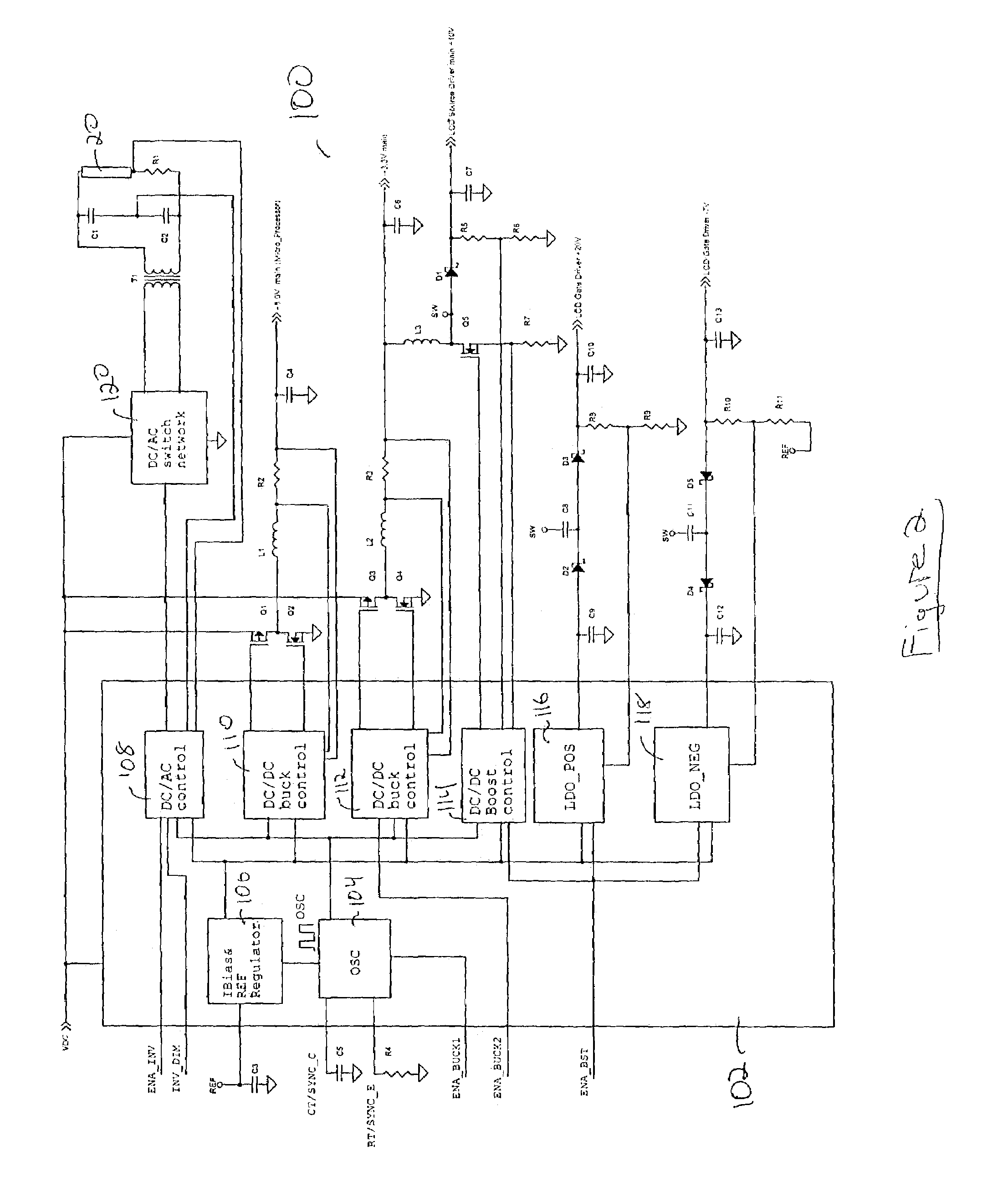 patent us7057611 - integrated power supply for an lcd panel