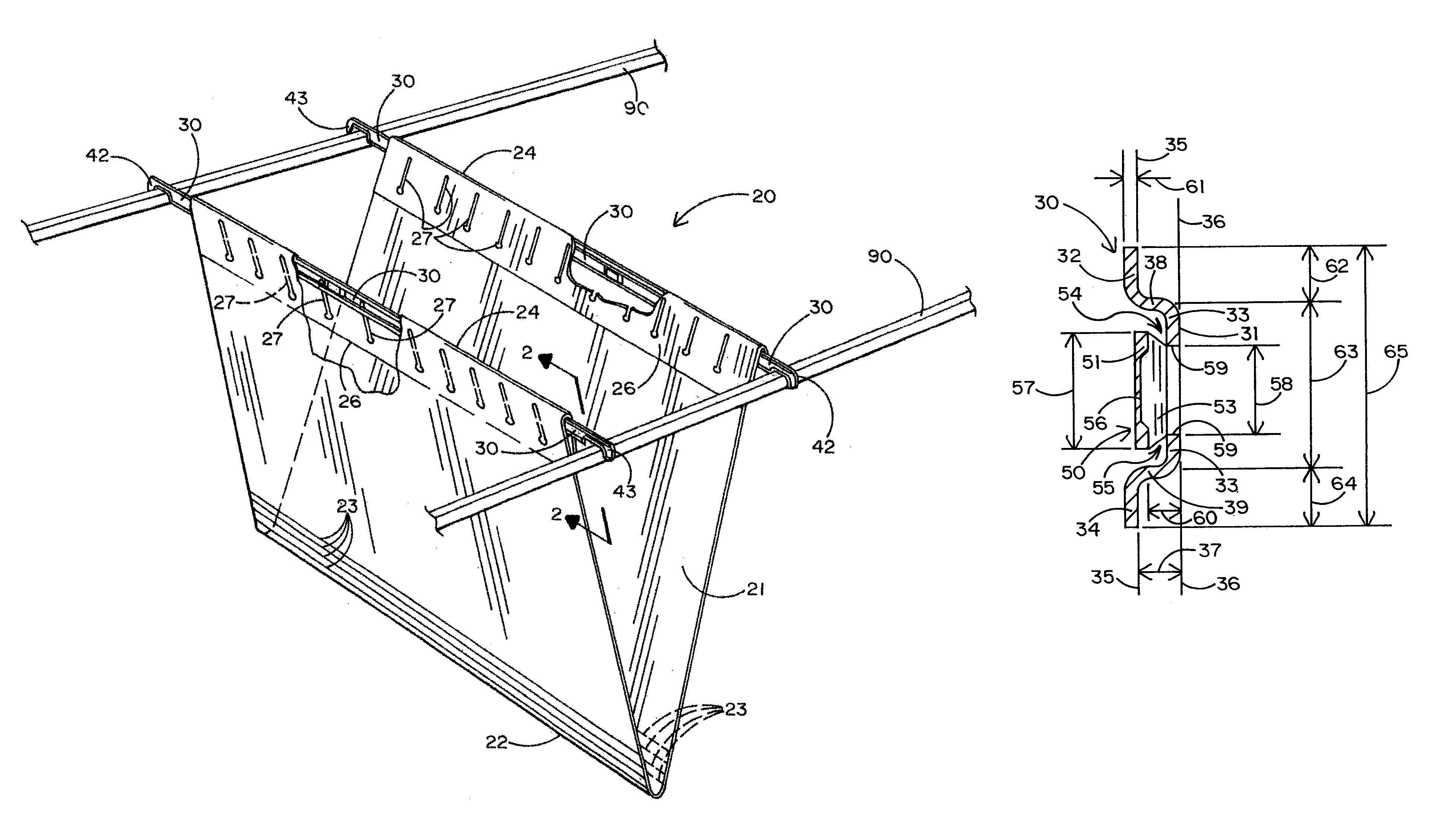 Patent us7059483 hanging file folder and suspension bar for Suspension fille