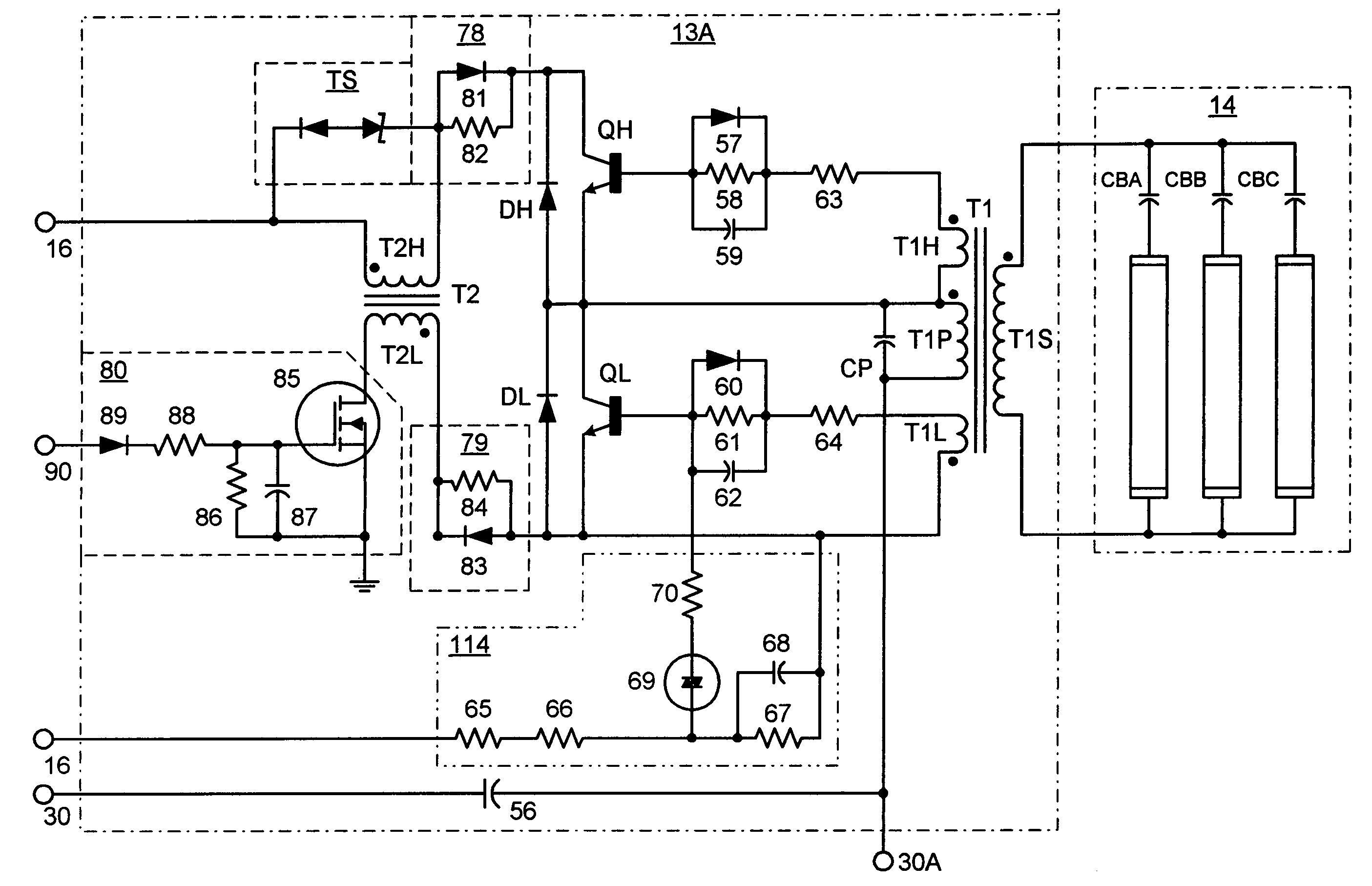US07061188 20060613 D00000 patent us7061188 instant start electronic ballast with universal programmed start ballast wiring diagram at fashall.co