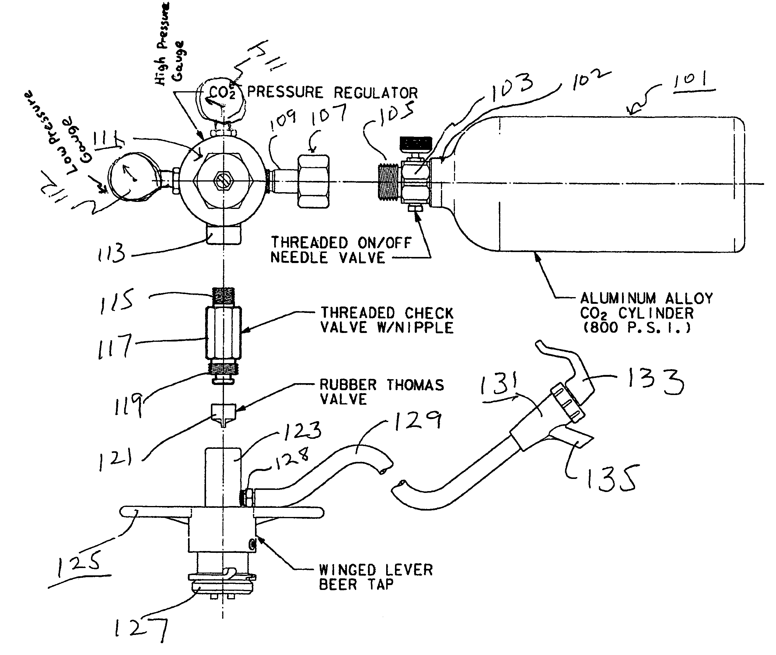 patent us7131560 - portable beer keg tap and dispenser